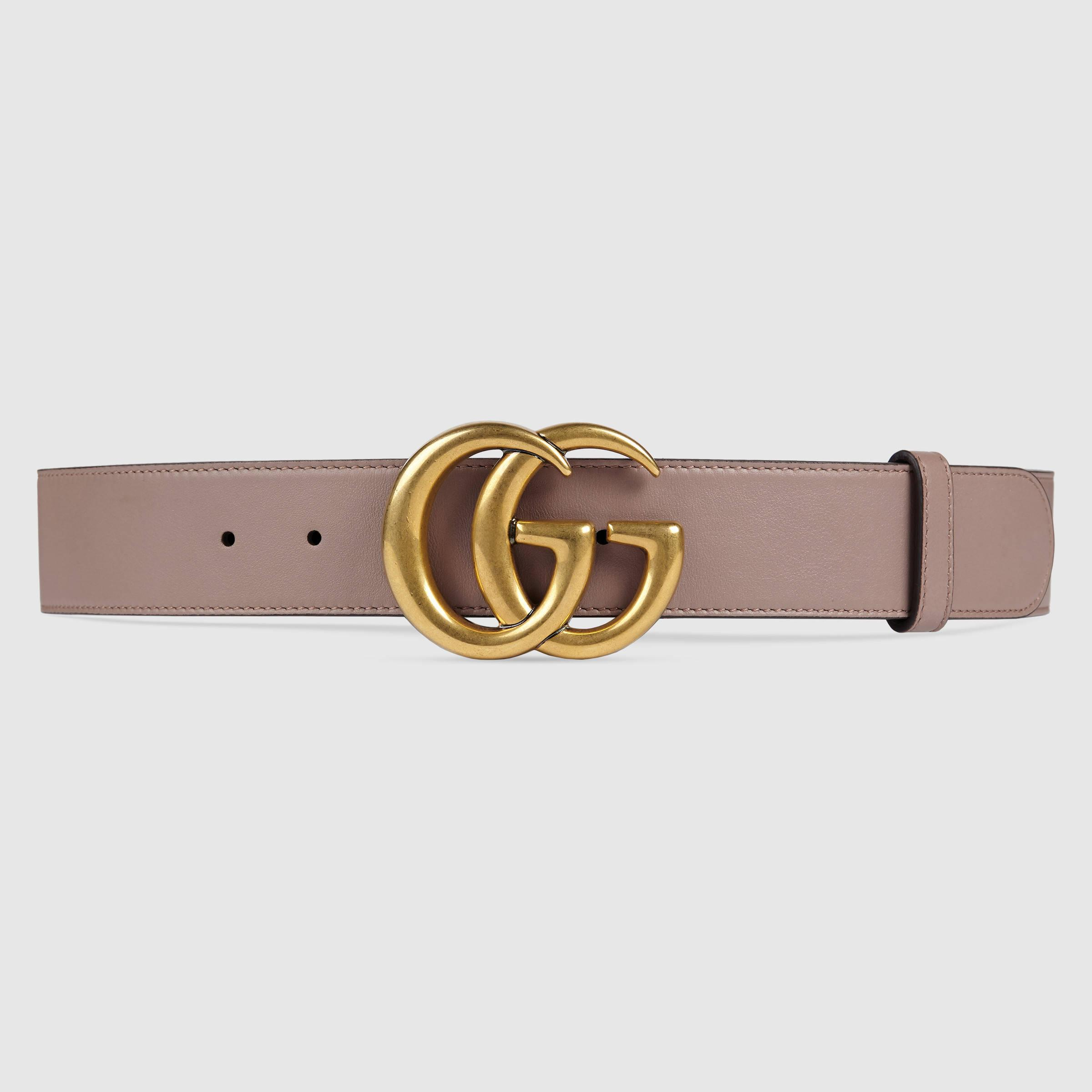 gucci leather belt with double g buckle in pink lyst