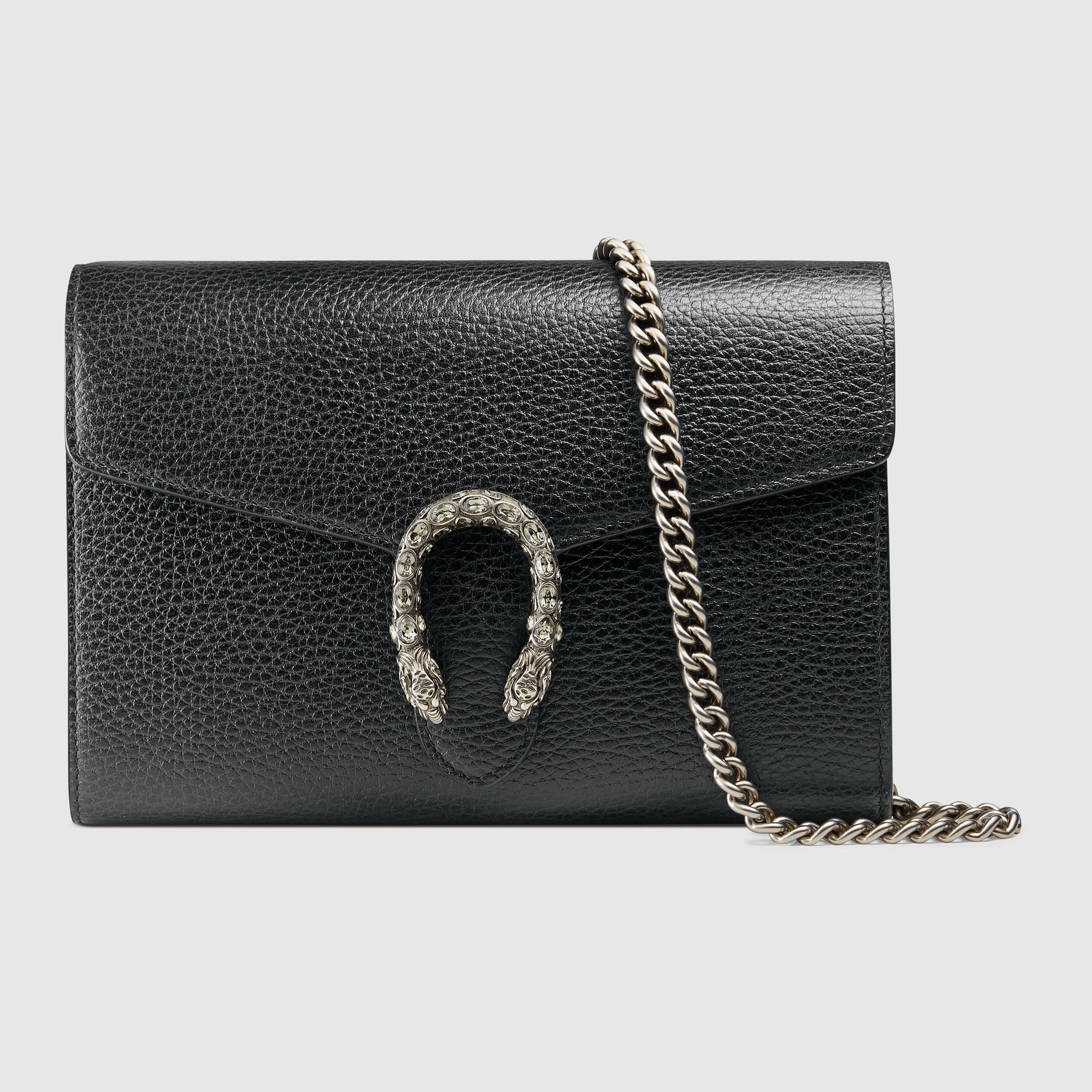 gucci dionysus leather mini chain bag in black lyst. Black Bedroom Furniture Sets. Home Design Ideas