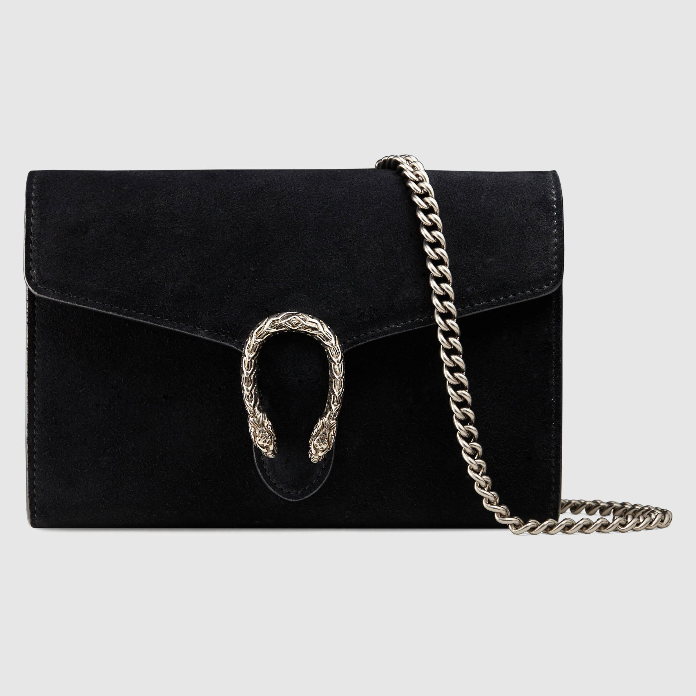 gucci dionysus suede mini chain shoulder bag in black lyst. Black Bedroom Furniture Sets. Home Design Ideas