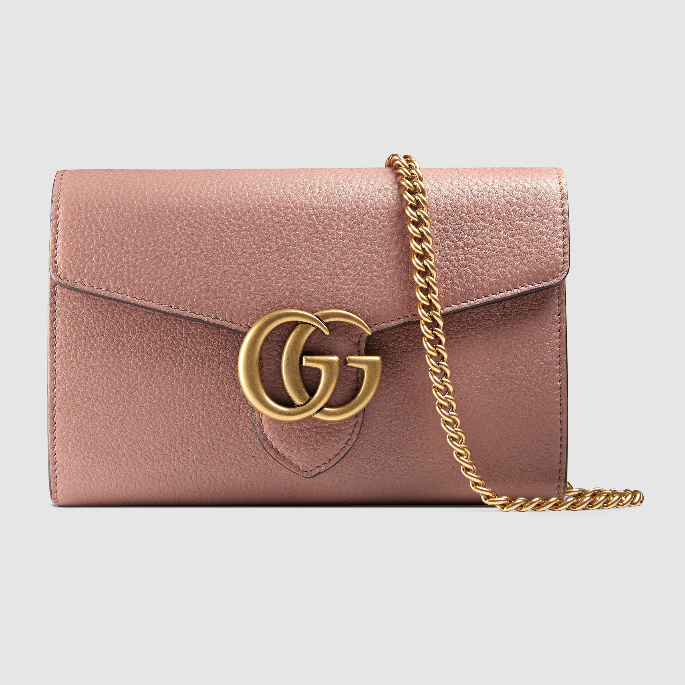 Lyst Gucci Gg Marmont Leather Mini Chain Bag In Pink
