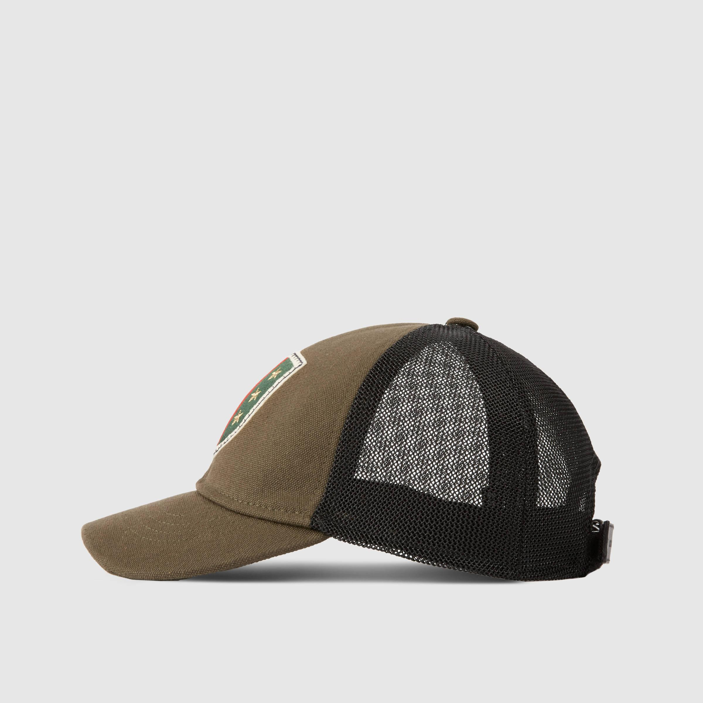 Gucci Hats For Men: Gucci Canvas Hat With Web Crest And Stars In Green