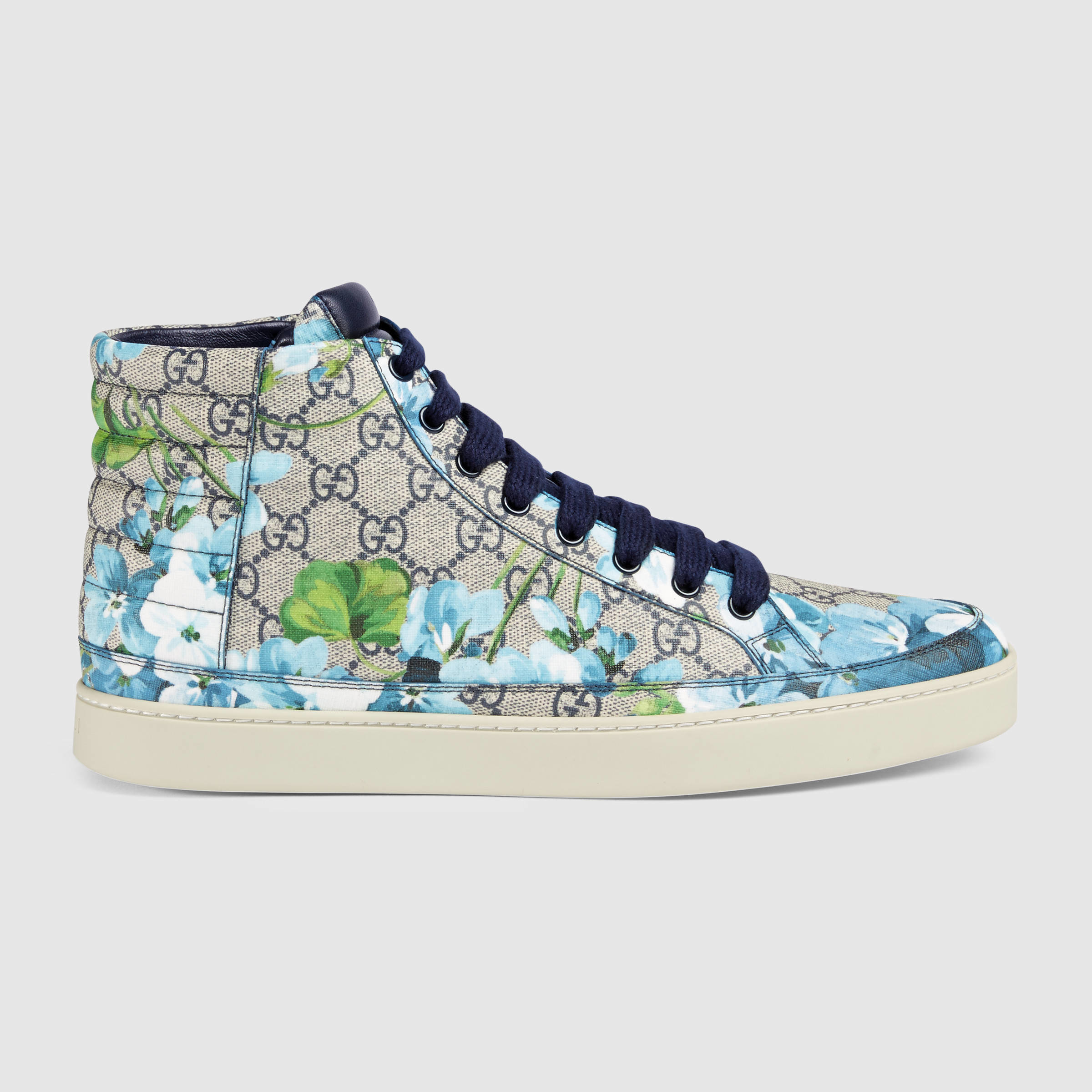 eaf47995786 Lyst - Gucci Gg Blooms High-top Sneaker in Blue for Men