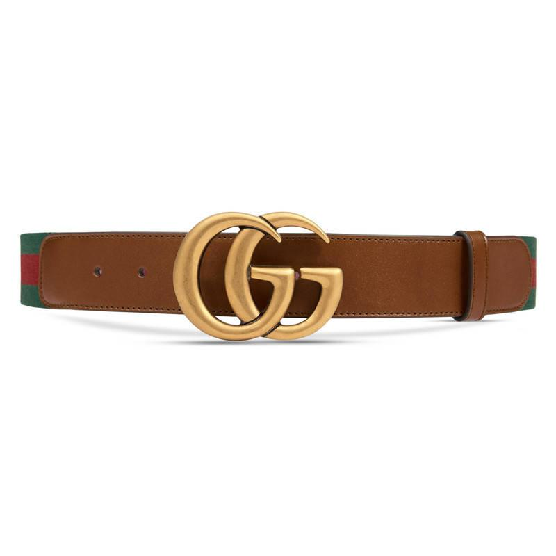 gucci web belt with g buckle in brown for lyst