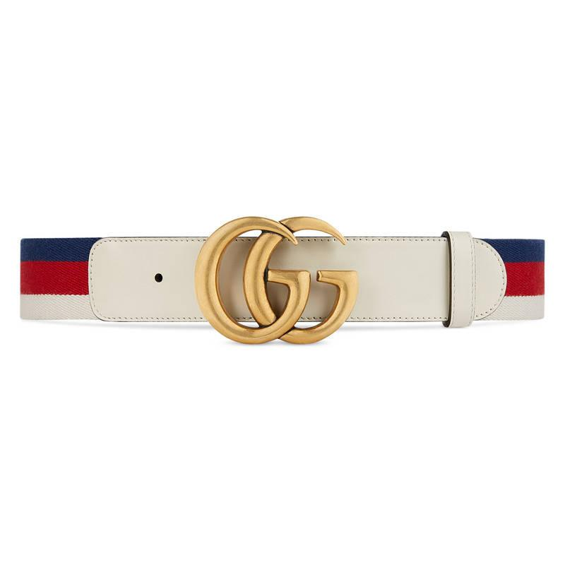 Gucci Sylvie Web Belt With Double G Buckle in White for ...