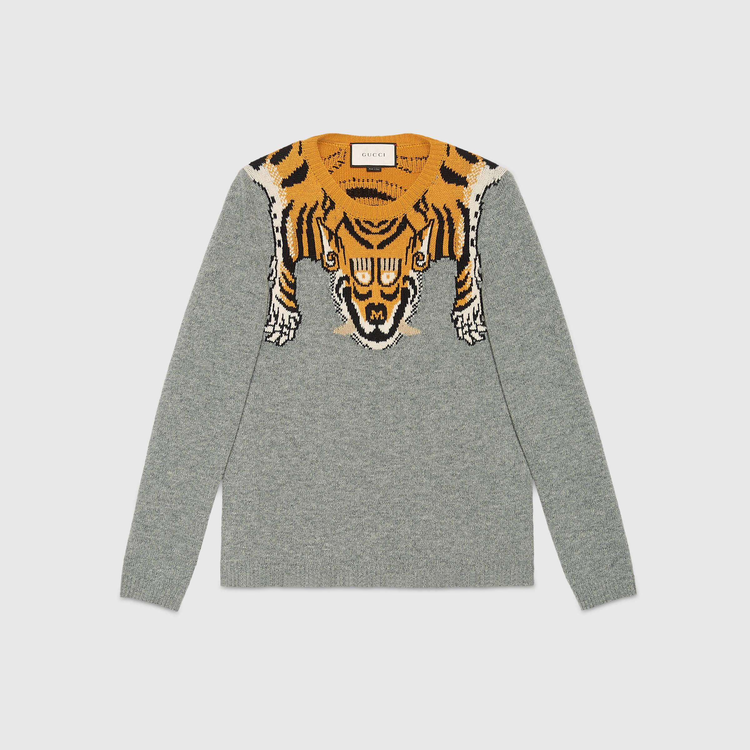 Gucci Wool Sweater With Tiger In Gray For Men Lyst