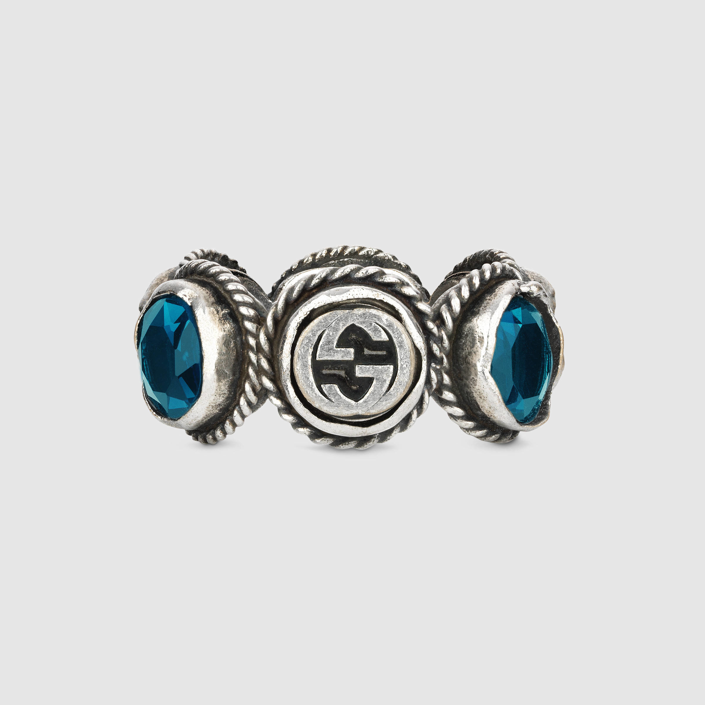 Gucci Ring With Swarovski Crystals in Blue for Men