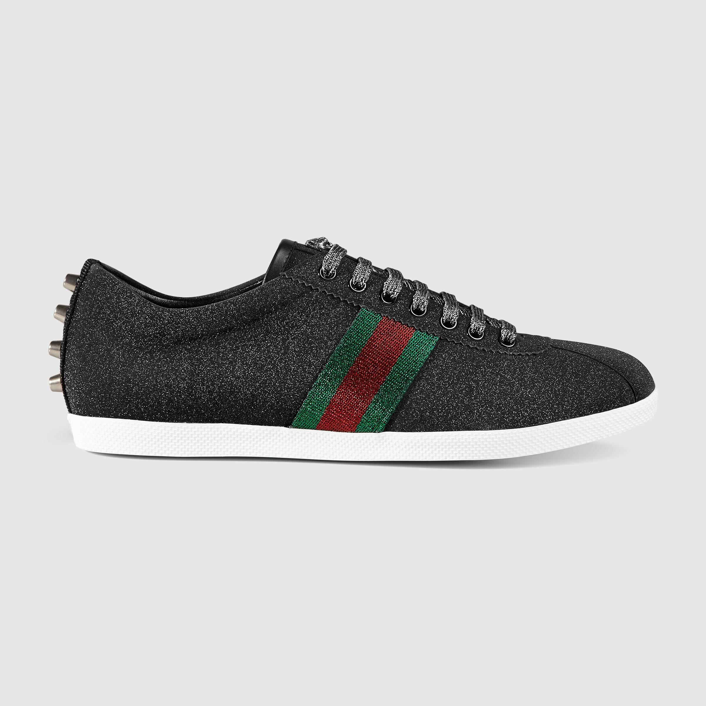 05e9afde684c Lyst - Gucci Glitter Web Sneaker in Black for Men