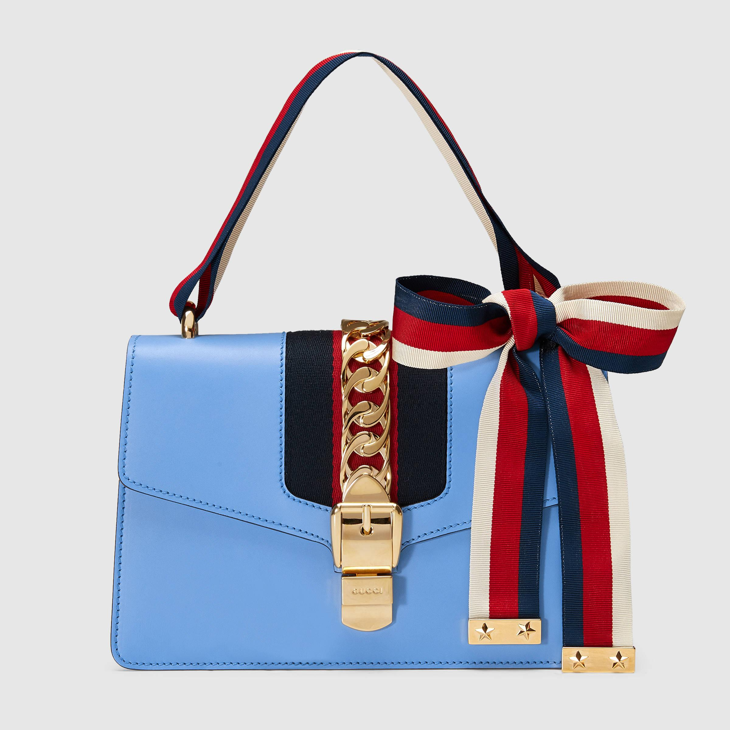 0d3702137965 Gucci Sylvie Leather Shoulder Bag in Blue - Lyst