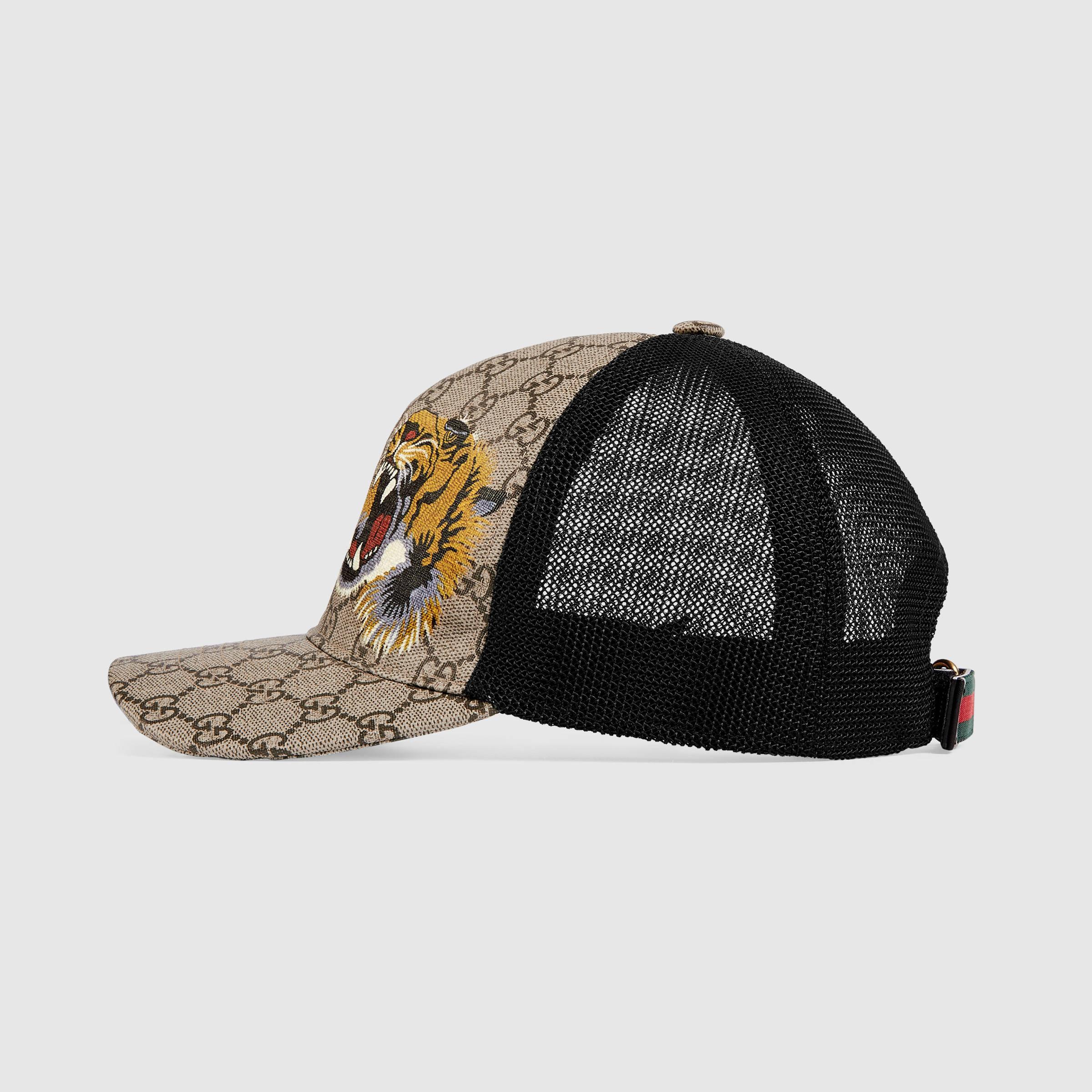 Gucci Tigers Print Gg Supreme Baseball Hat For Men