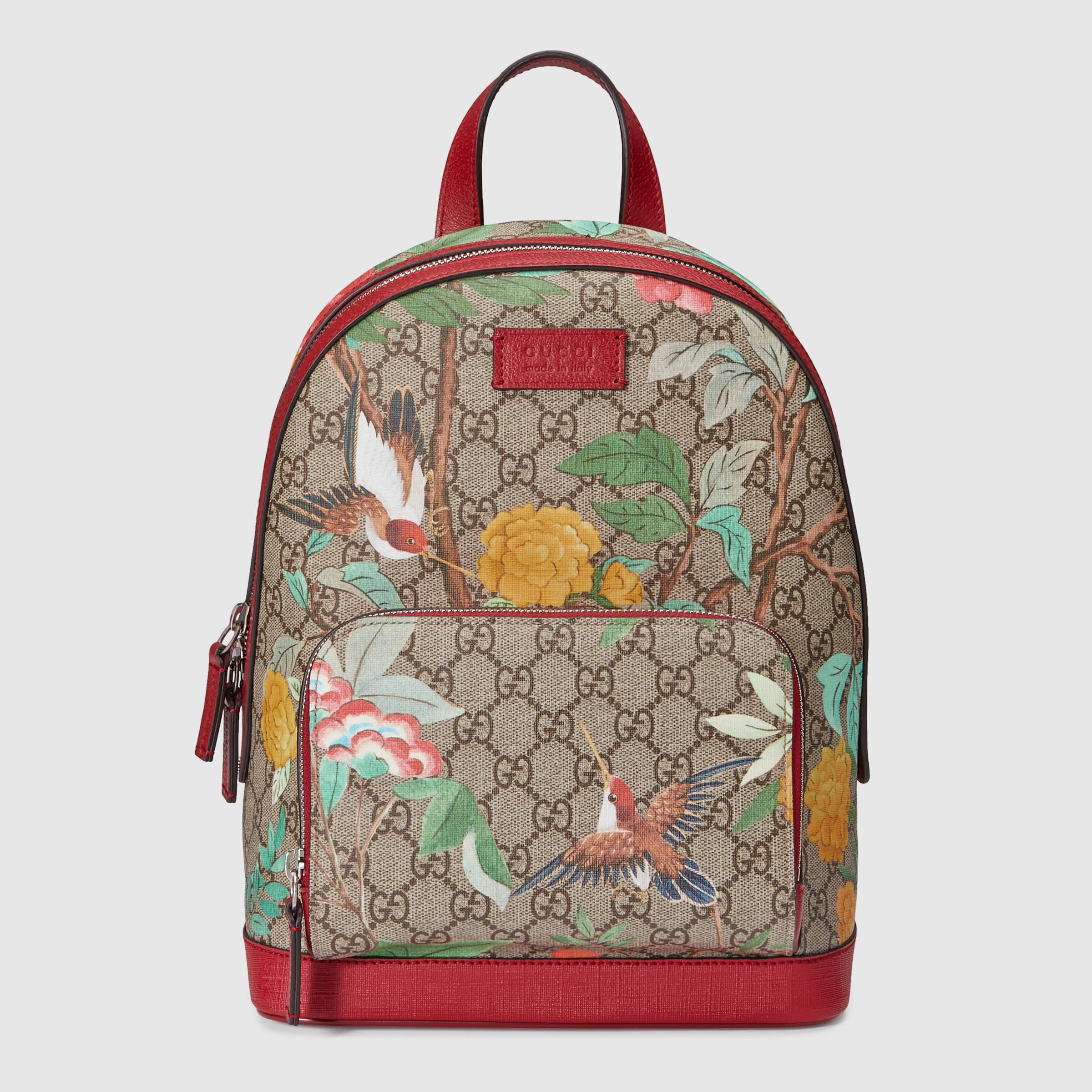 c4ca3a36f964 Gucci Tian GG Supreme Canvas & Leather Backpack - Lyst