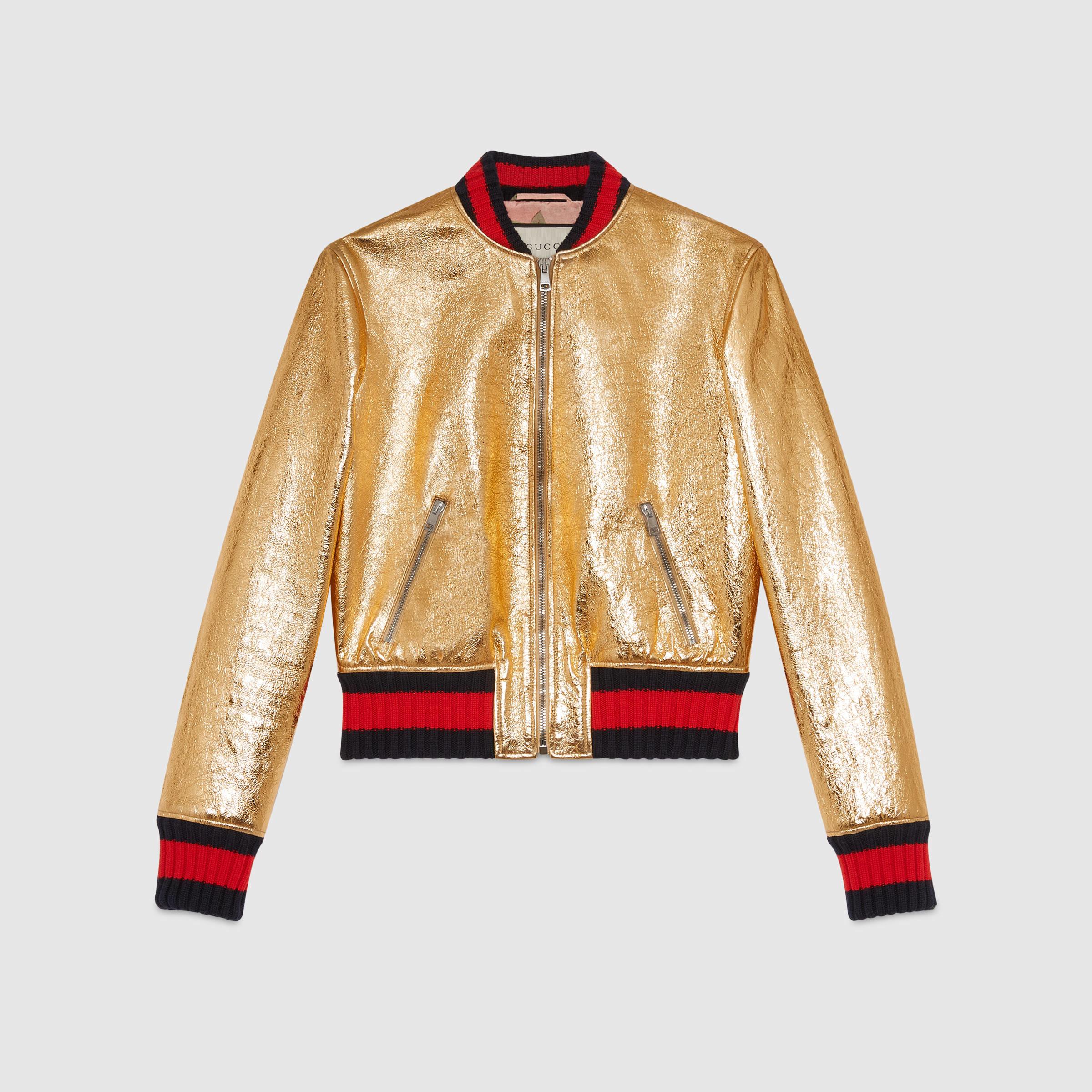 357a892e6 Gucci Metallic Leather Bomber Jacket