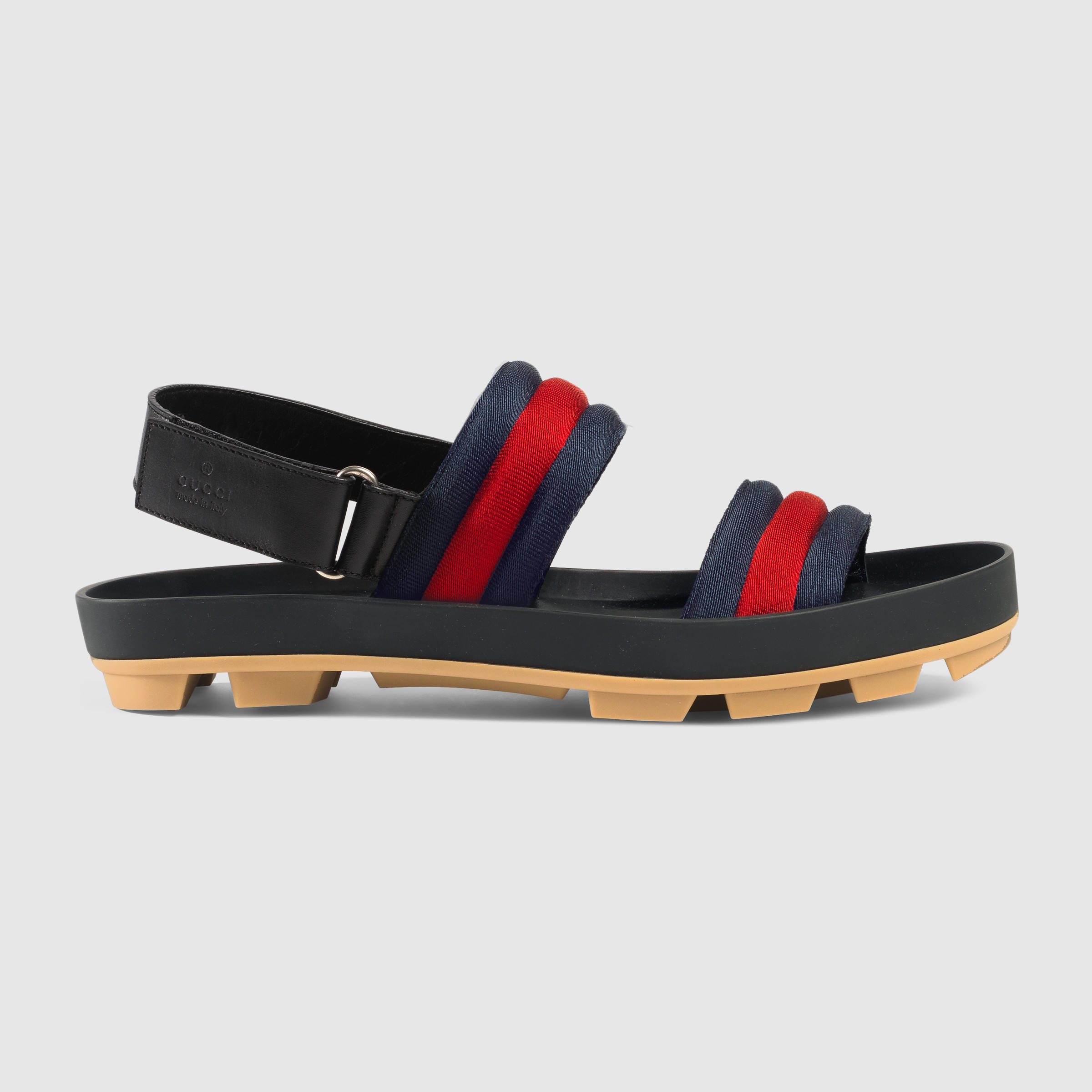 87f34a5aa0519 Lyst - Gucci Leather And Web Sandal for Men