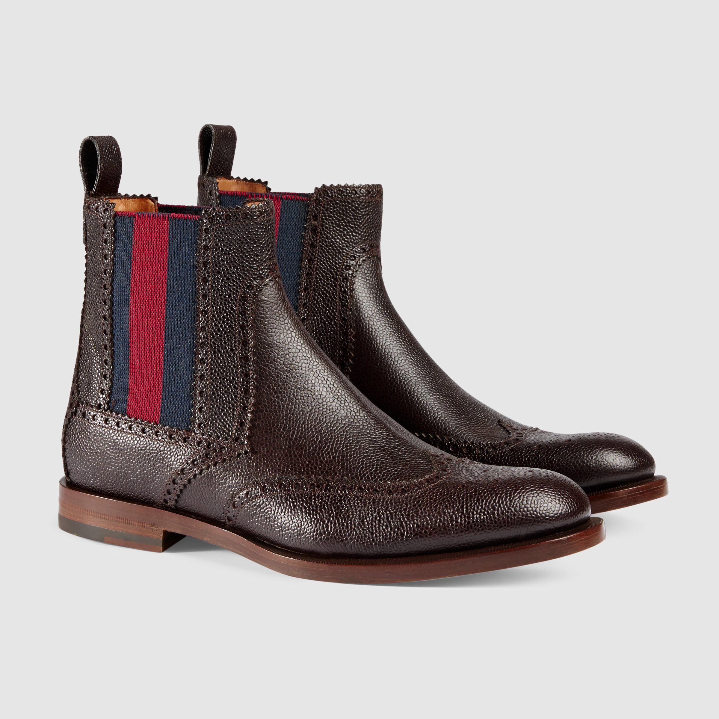 cf3fe0900 Gucci Leather Boot With Web In Green For Men (brown