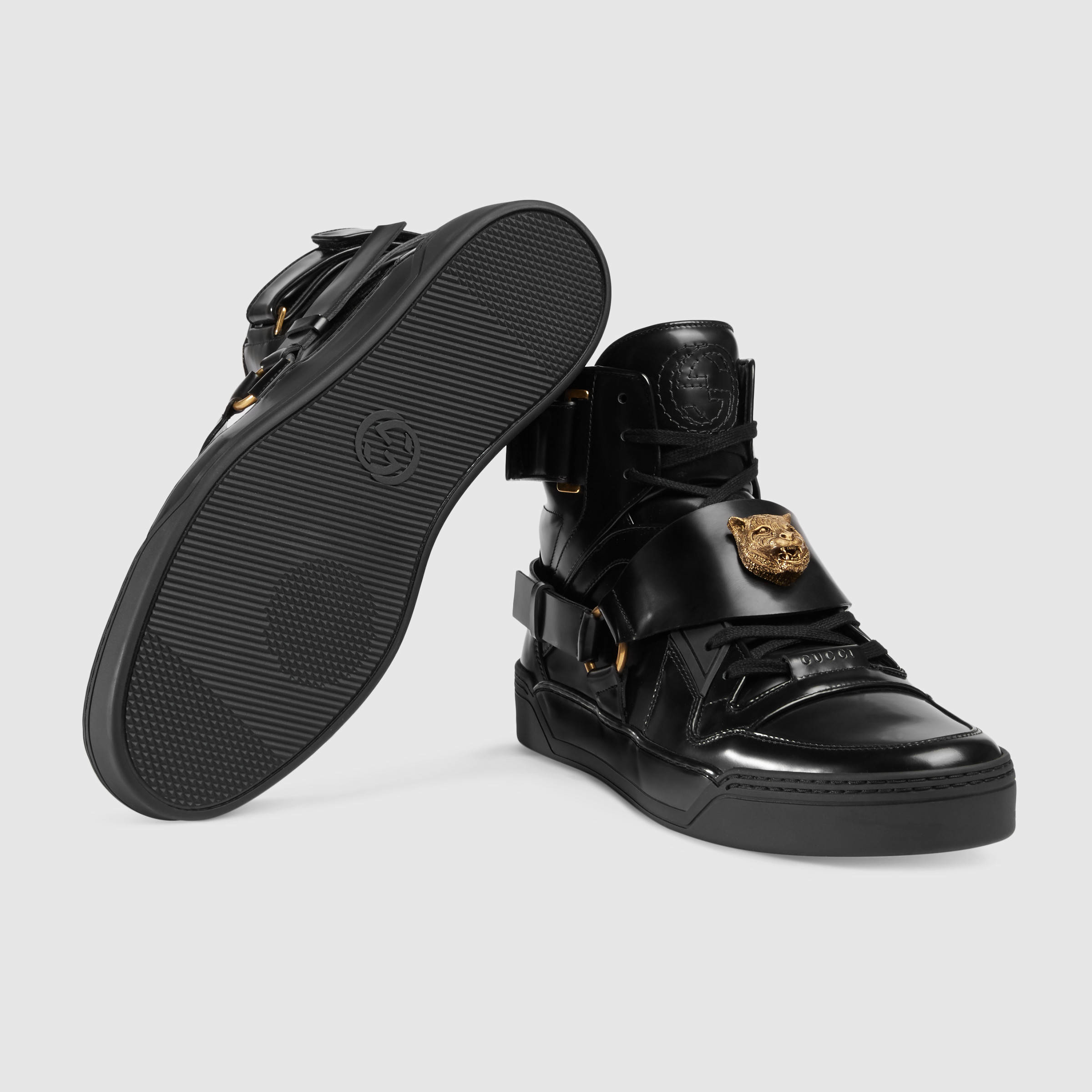 Lyst - Gucci Leather High-top Sneaker With Feline in Black for Men 8c5004d9541