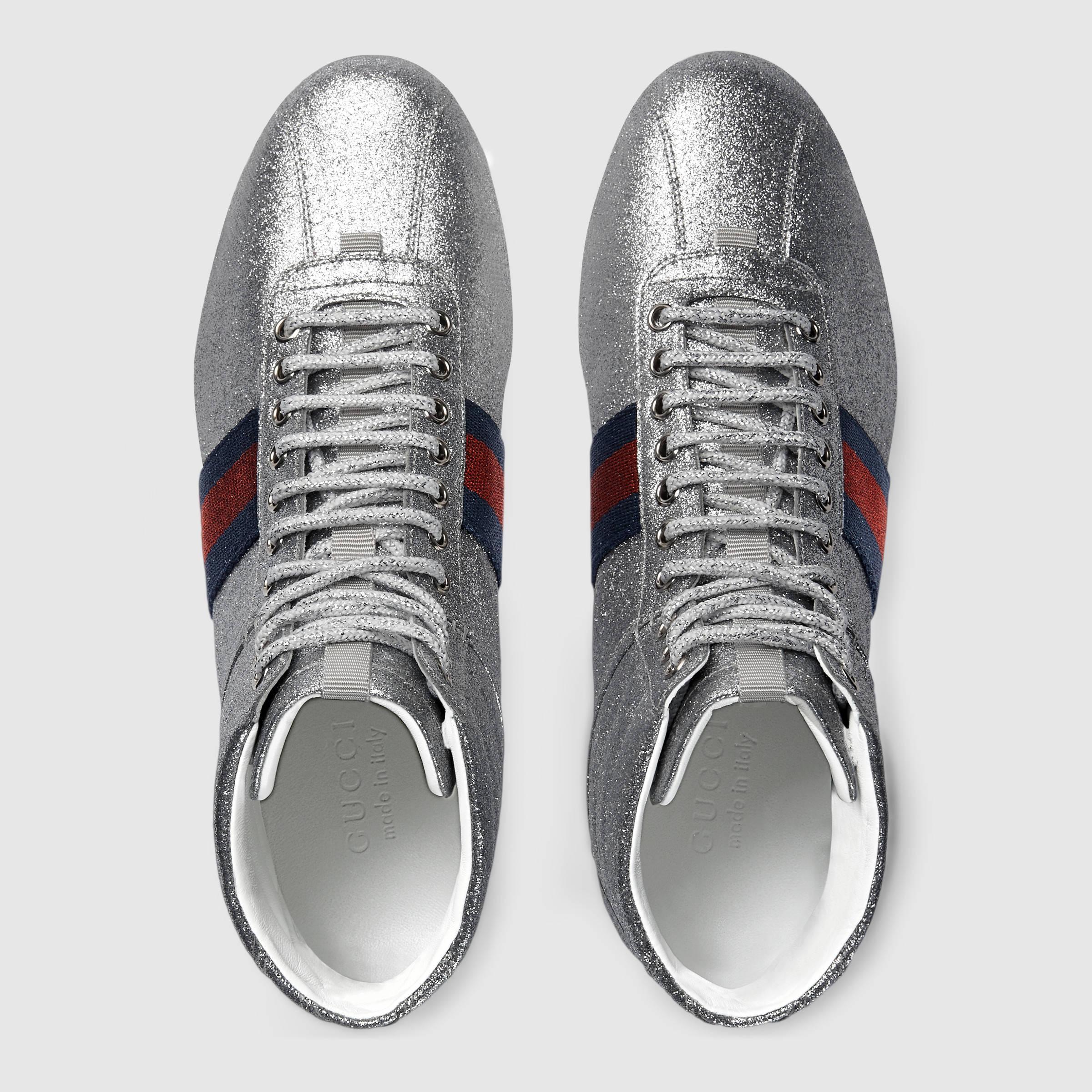 1995e6ade51 Lyst - Gucci Glitter Web High-top Sneaker in Metallic for Men