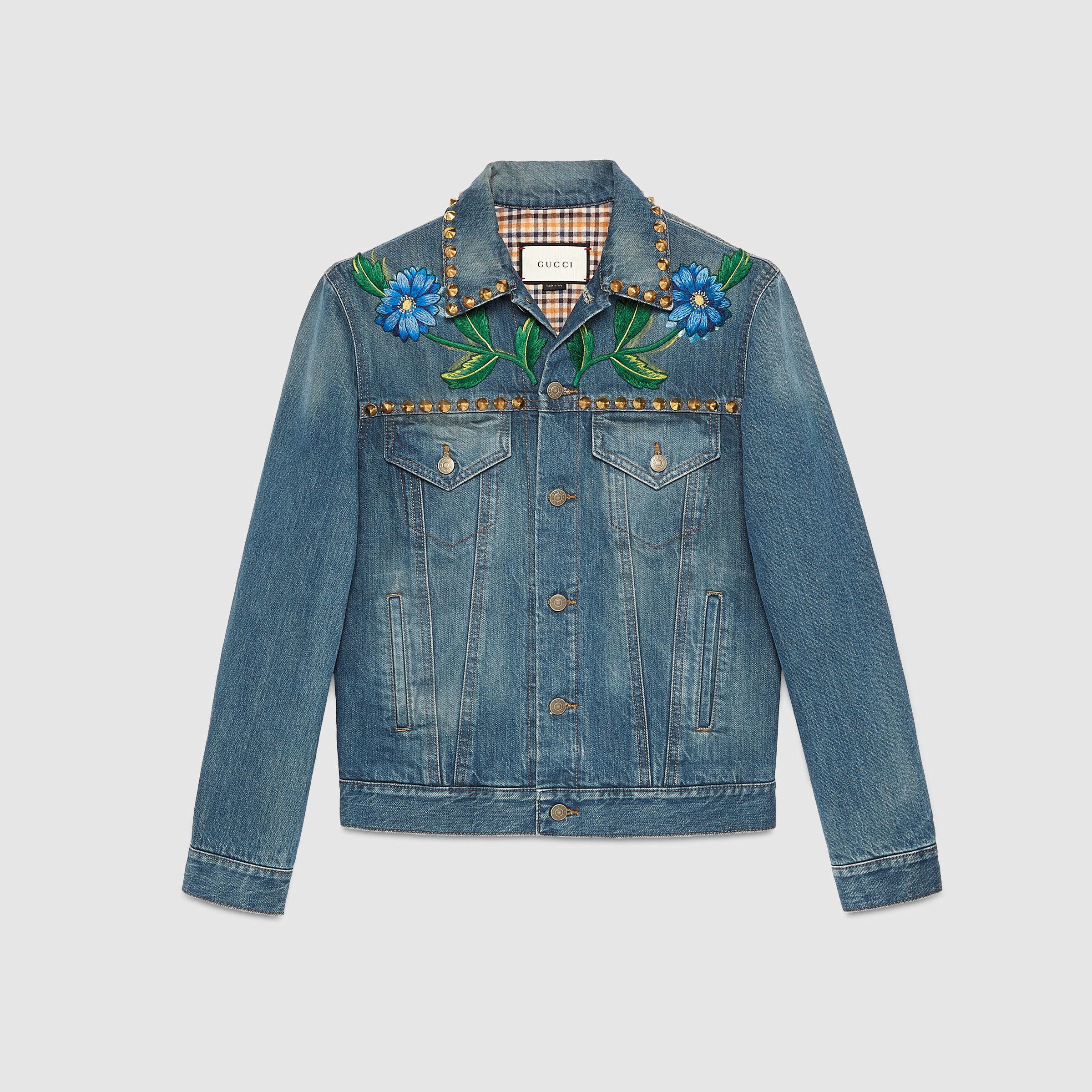 Lyst Gucci Painted Denim Jacket With Embroidery In Blue For Men