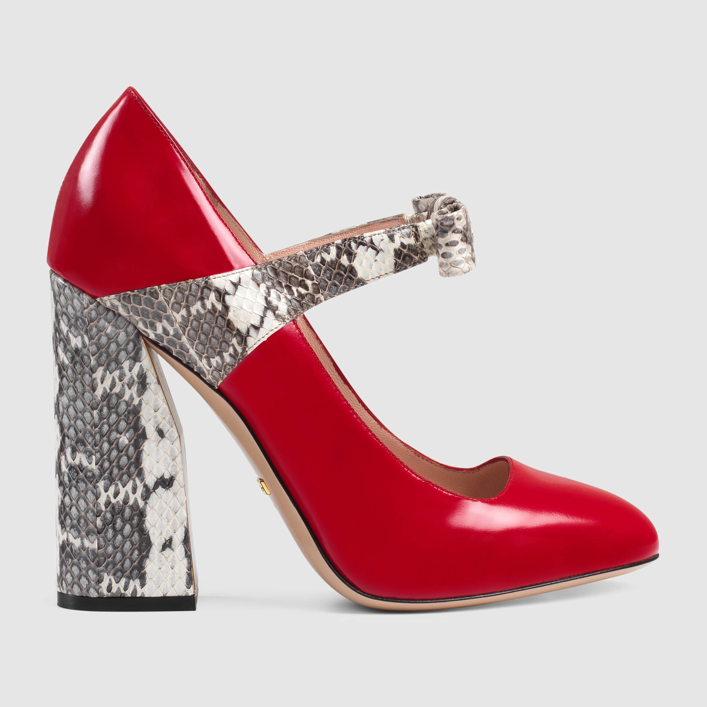 Red Snakeskin Court Shoes