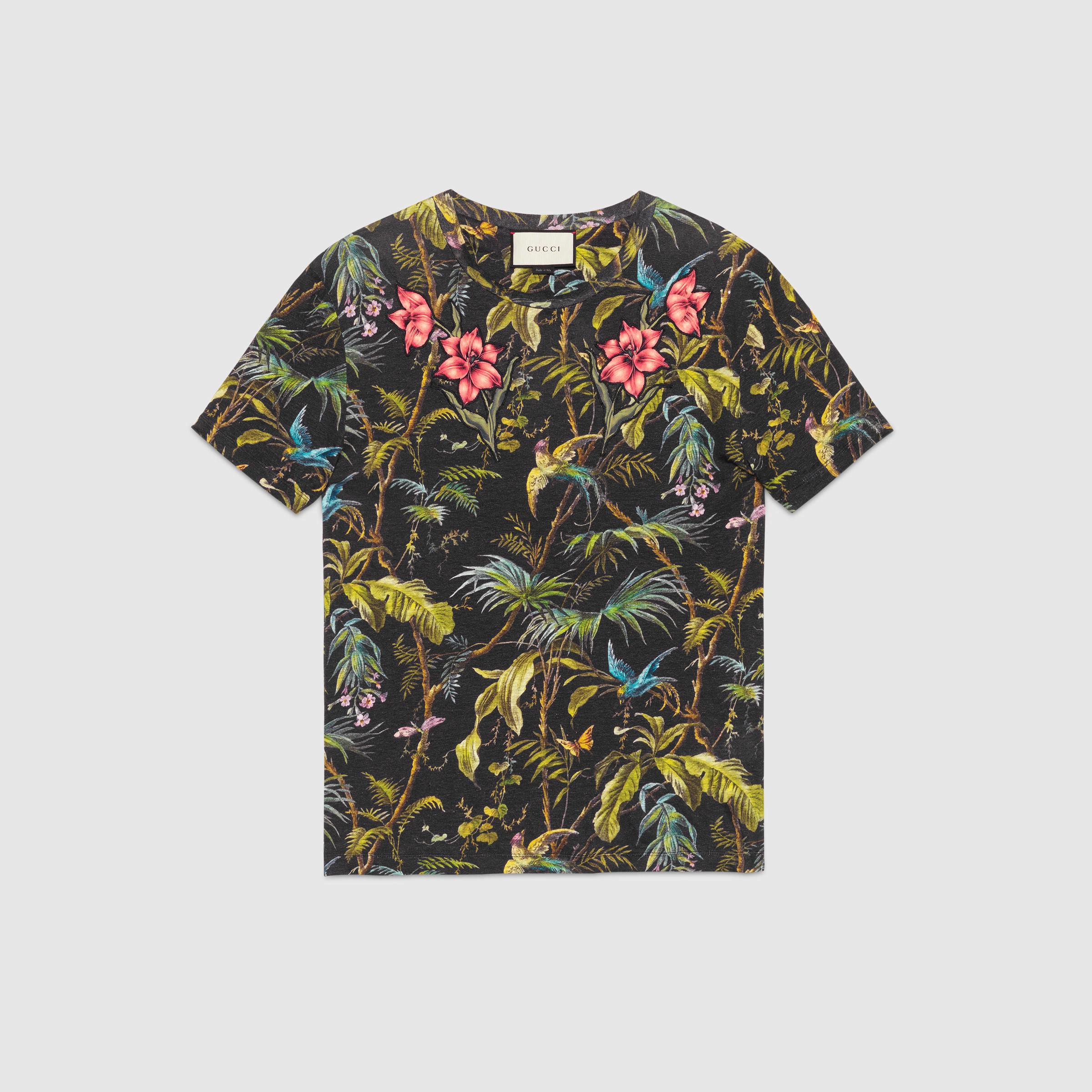 1a85d65516f Lyst - Gucci Jungle-print And Appliqué Linen T-shirt for Men