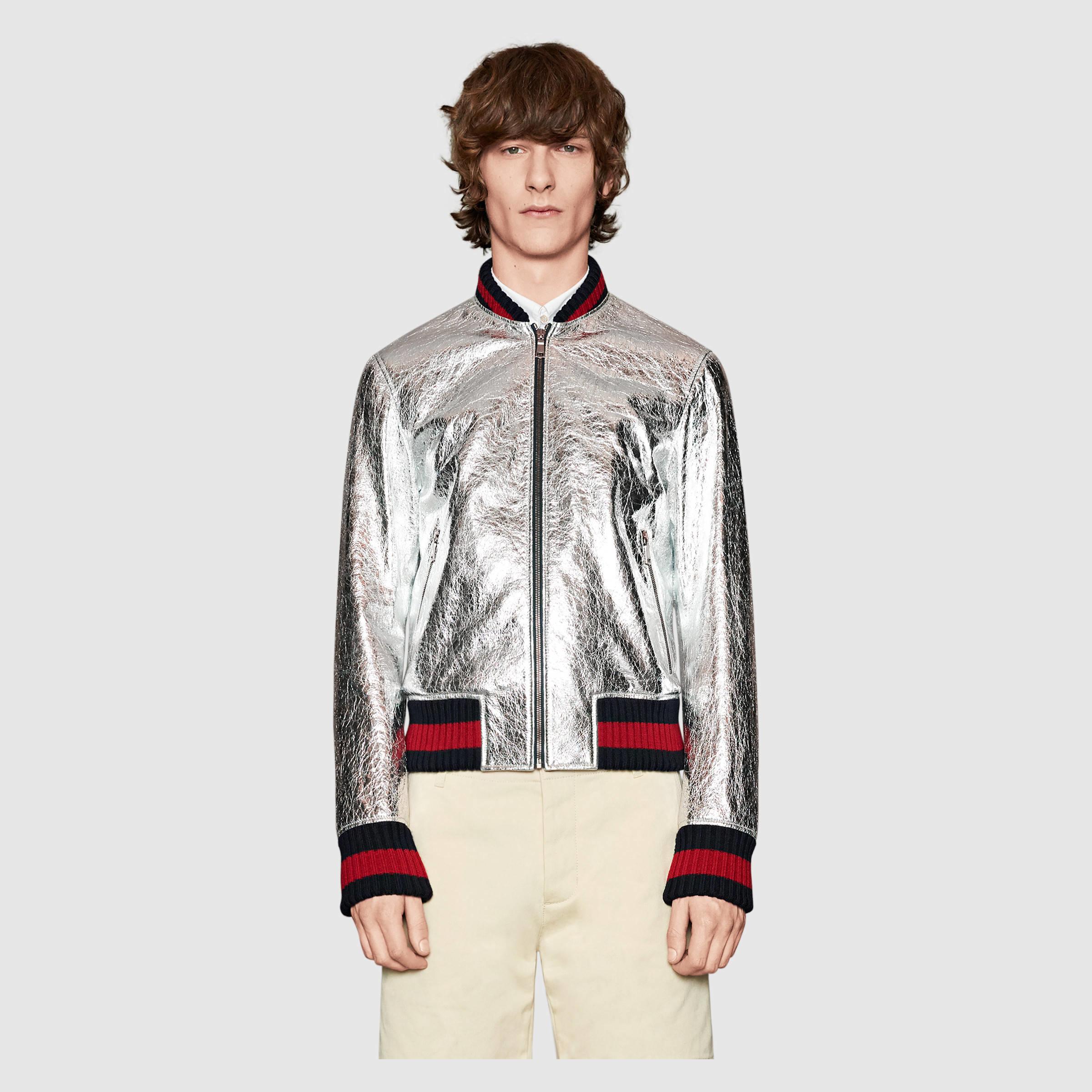 d79ae1d01 Men's Crackle Leather Duchesse Bomber Jacket