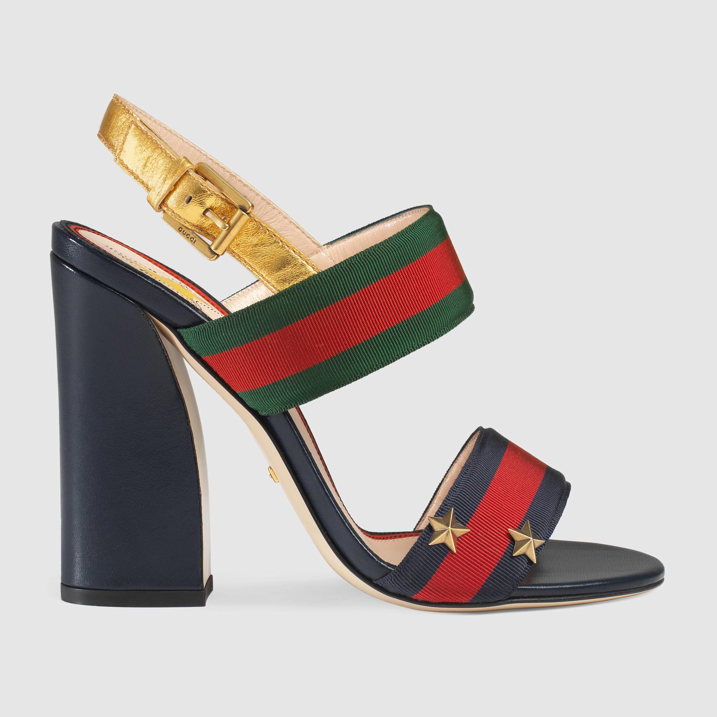 3760cb3eb Lyst - Gucci Grosgrain Web Sandal in Red