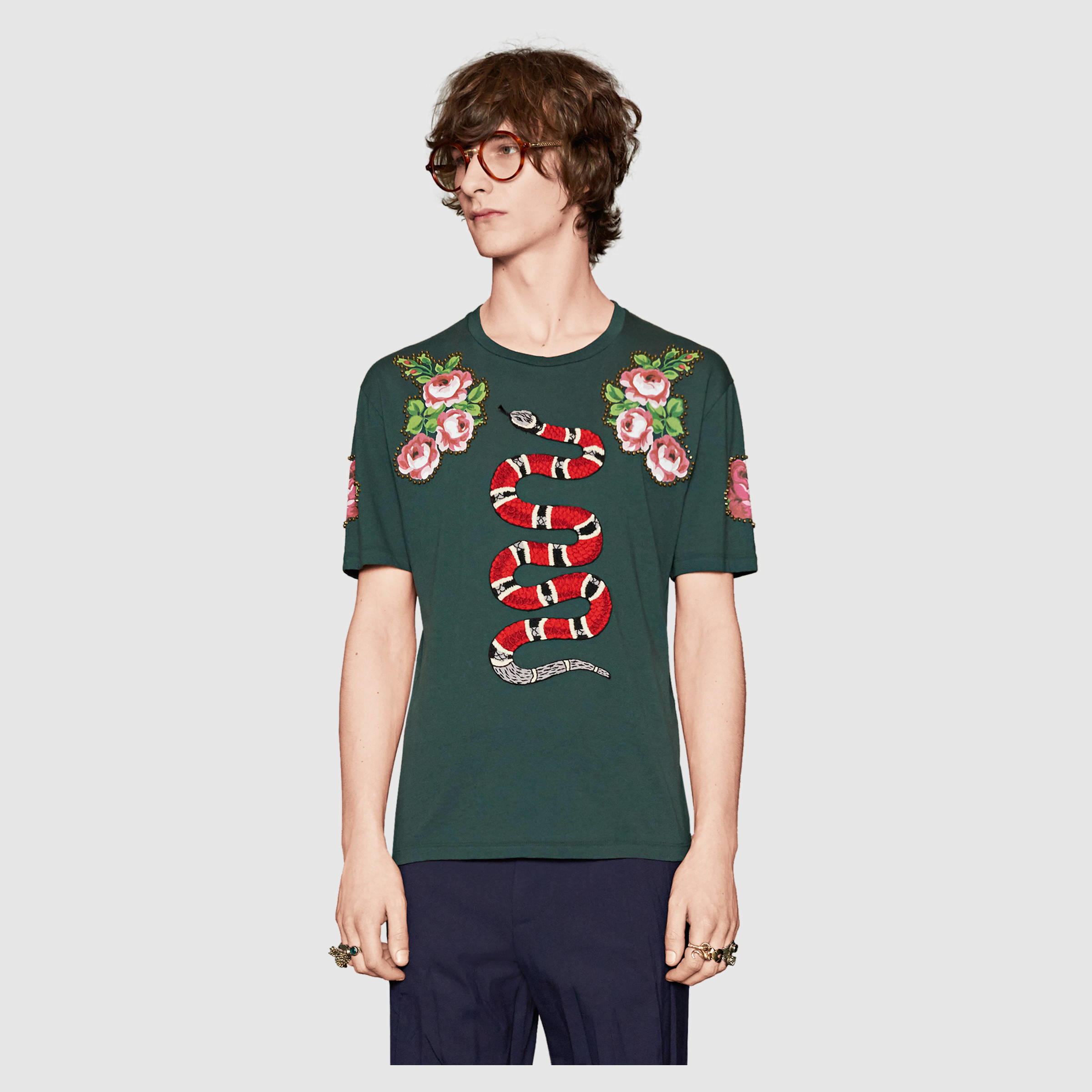 lyst gucci cotton tshirt with snake for men