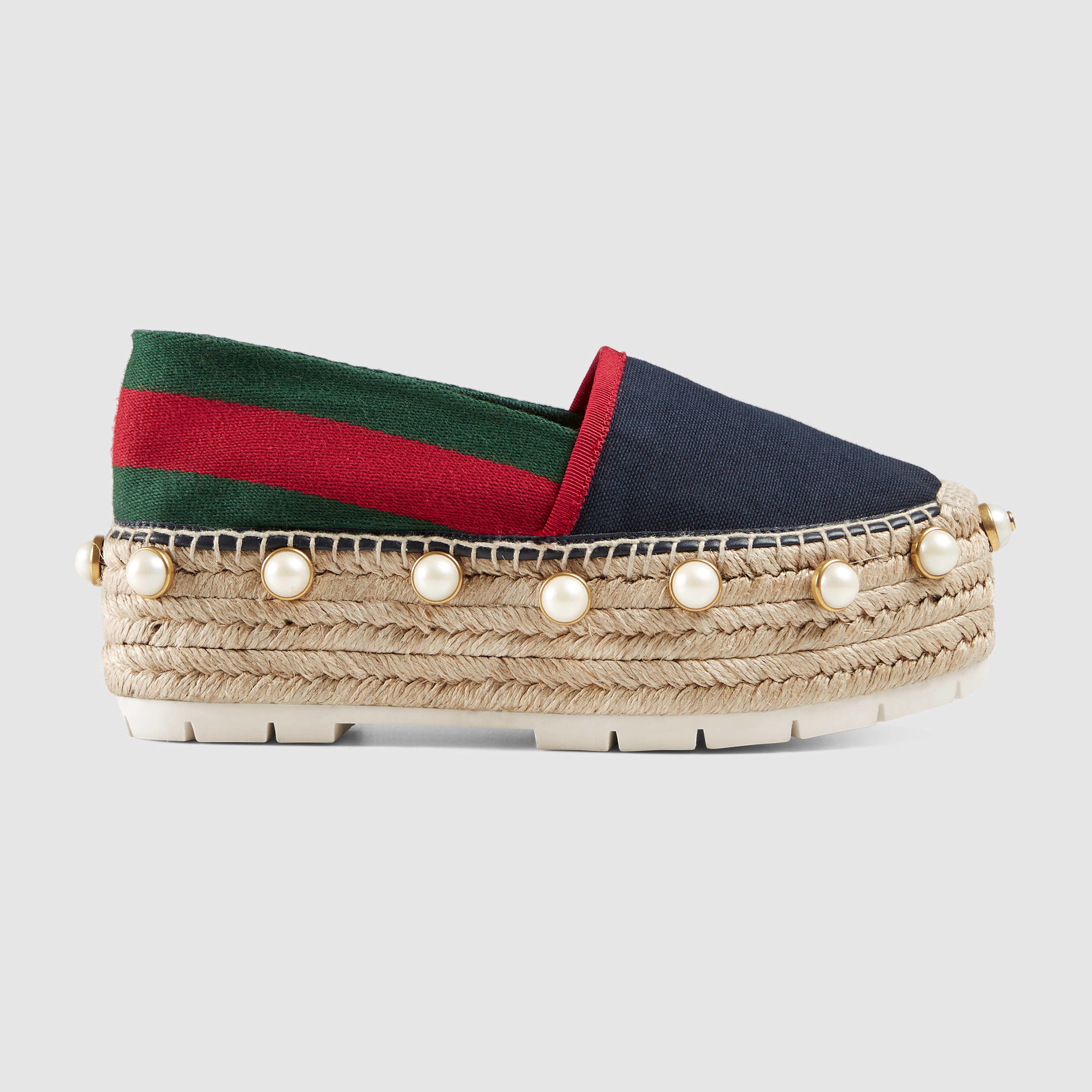 Gucci Linen Studded Espadrille In Blue Lyst