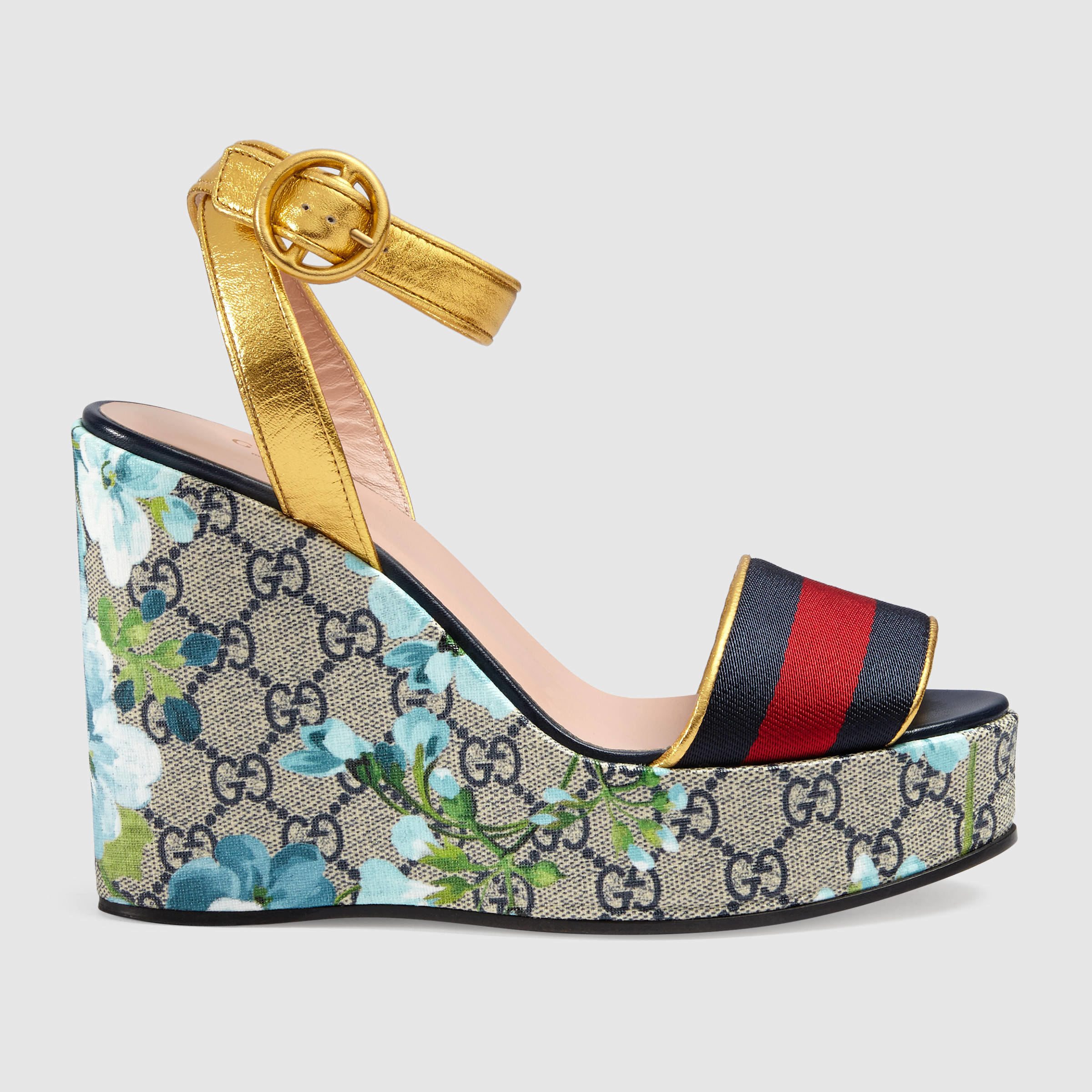 d2fa215666b6 Lyst - Gucci Gg Blooms Platform Sandal in Natural