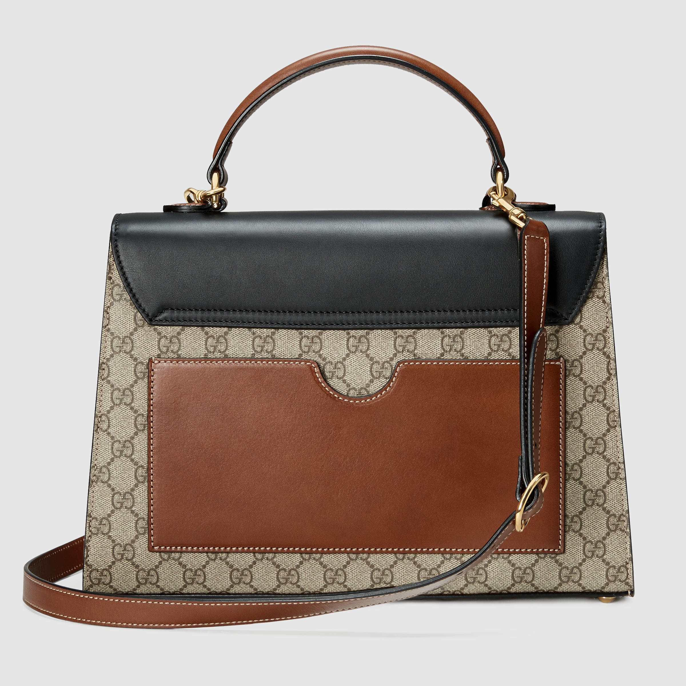 71f7193715ab92 Gucci Padlock Small Gg Top Handle Bag in Black - Lyst