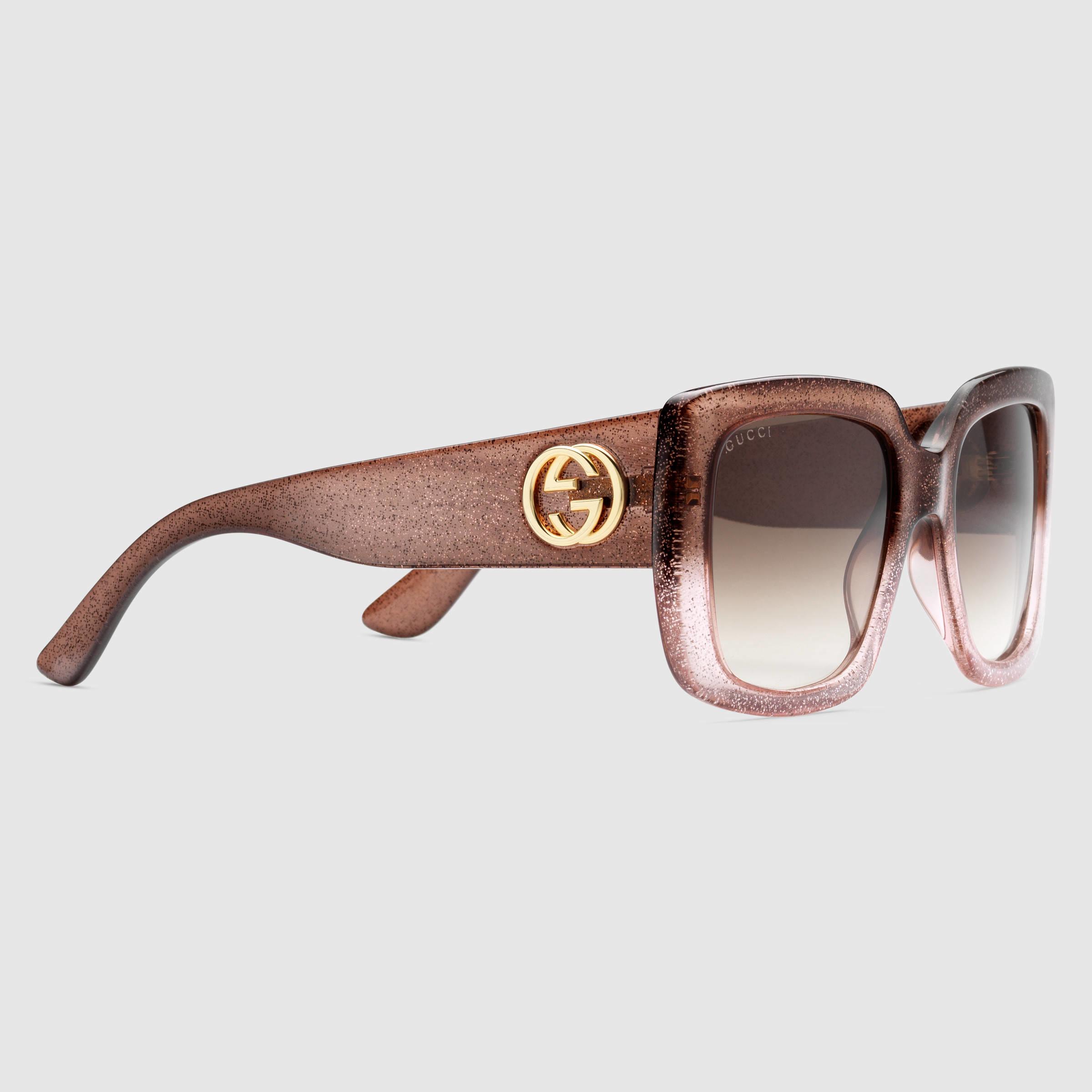 adda8802b05 Gucci Square-frame Optyl Sunglasses in Pink - Lyst