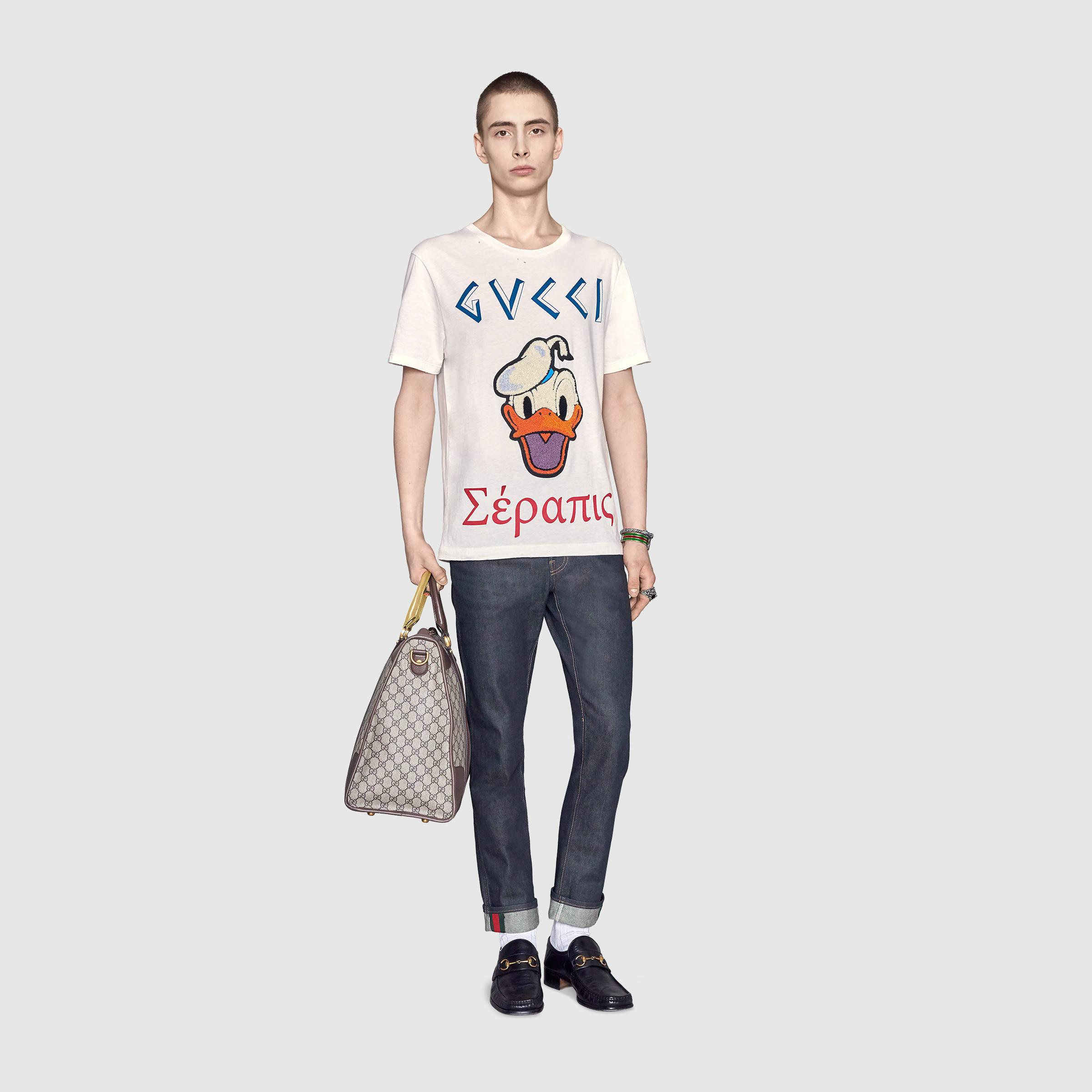 gucci washed t shirt with donald duck in white for men lyst. Black Bedroom Furniture Sets. Home Design Ideas