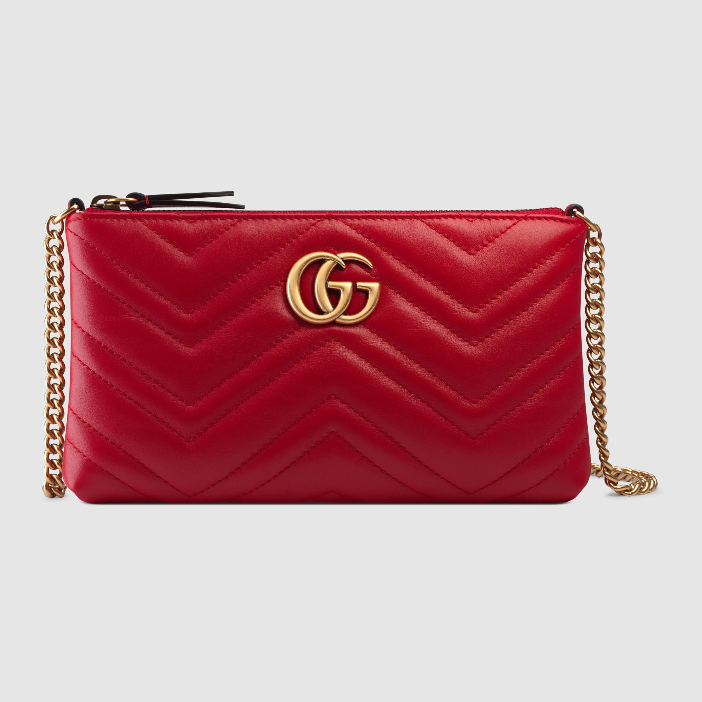 aea05e88b49b Gucci Marmont Mini Red Bag. Gucci GG Marmont Matelassé Leather Mini Shoulder  Bag in Red | Lyst