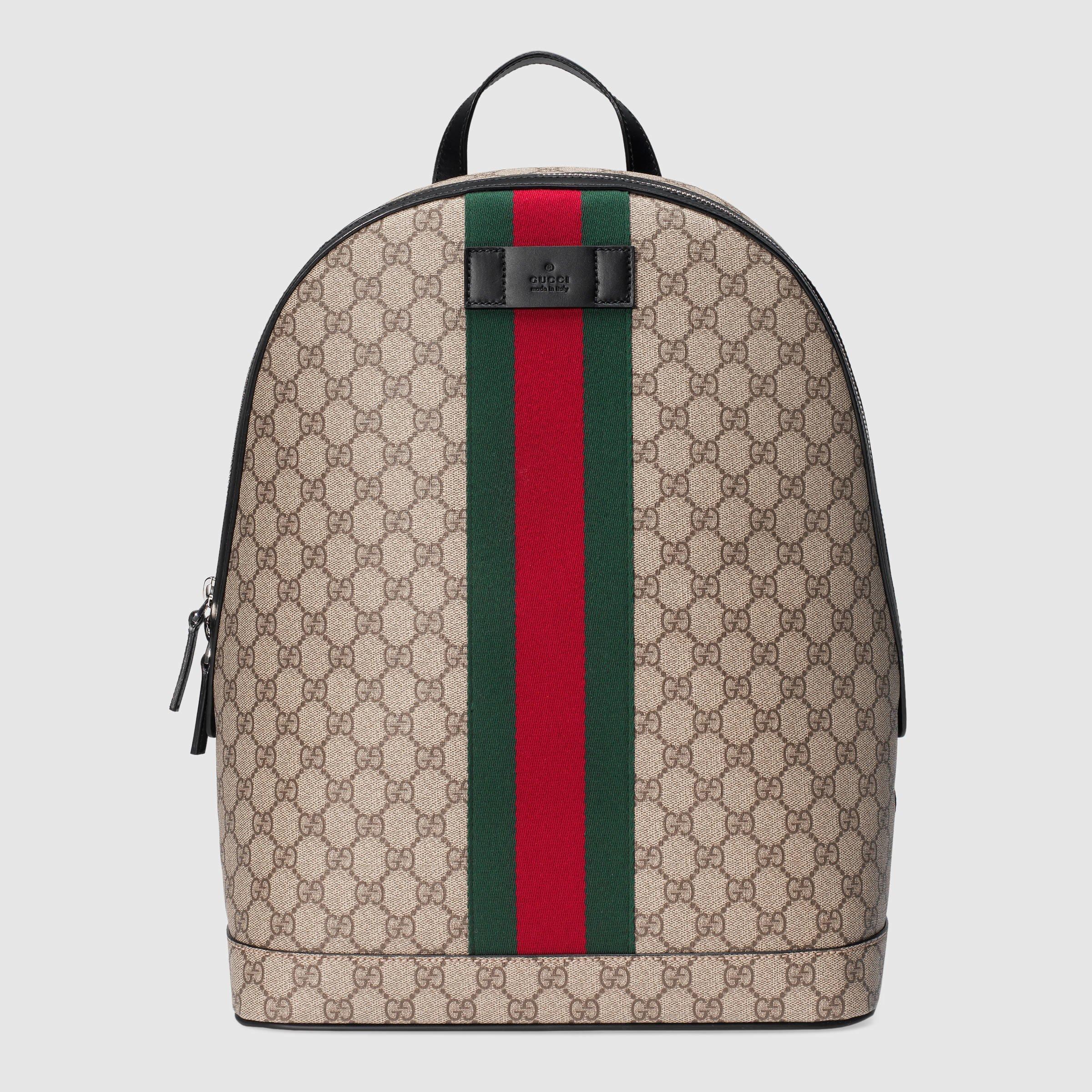 gucci gg supreme backpack with web in multicolour gg supreme lyst. Black Bedroom Furniture Sets. Home Design Ideas