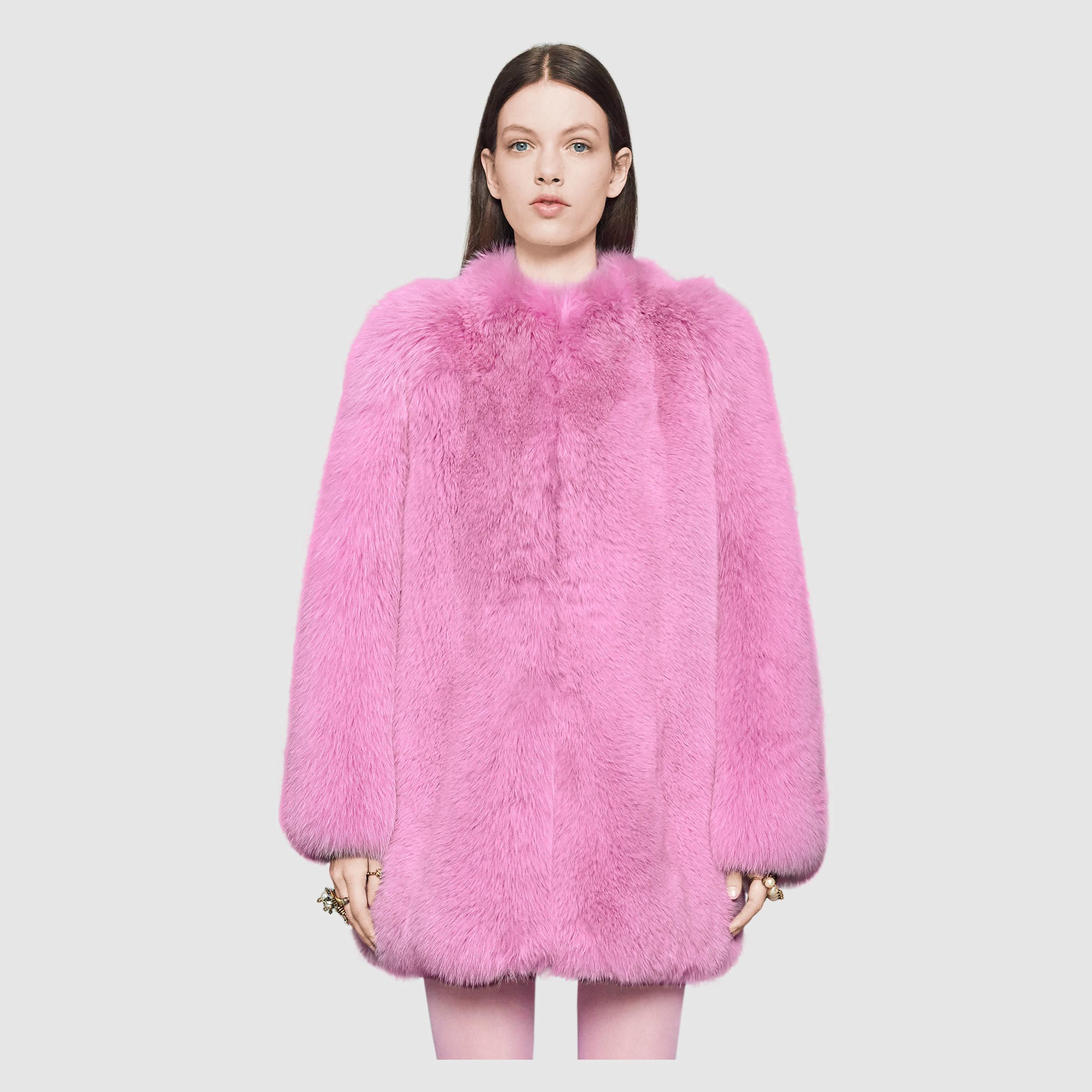 Gucci Fox Fur Coat Lyst