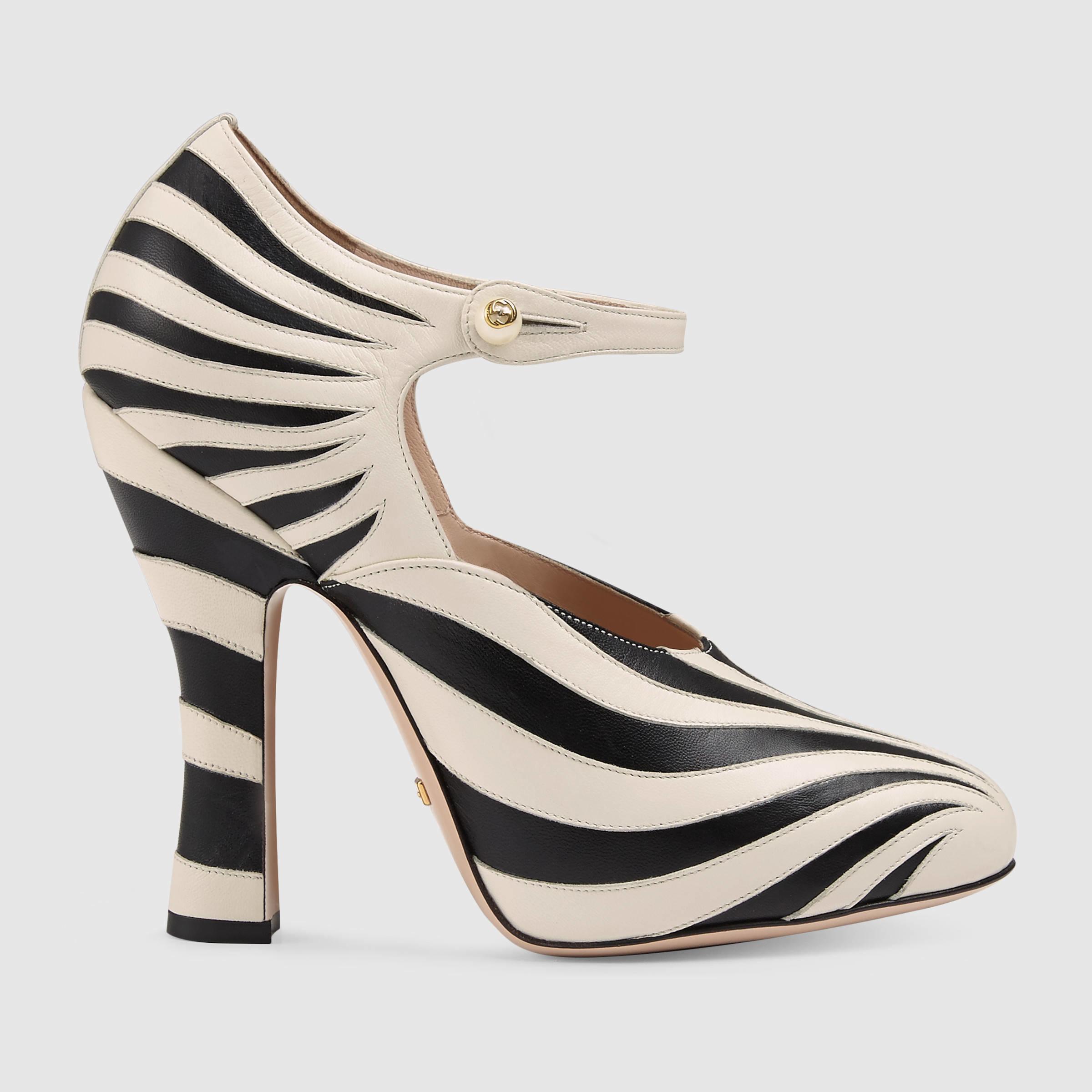 8acbe3f1c Gucci Lesley Zebra-Appliqué Leather Pumps in Black - Lyst