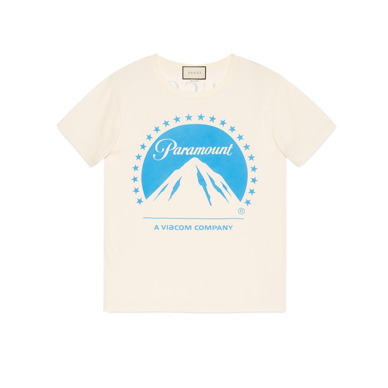 75ccf7c9bd1a Lyst - Gucci Oversize T-shirt With Paramount Logo in Blue