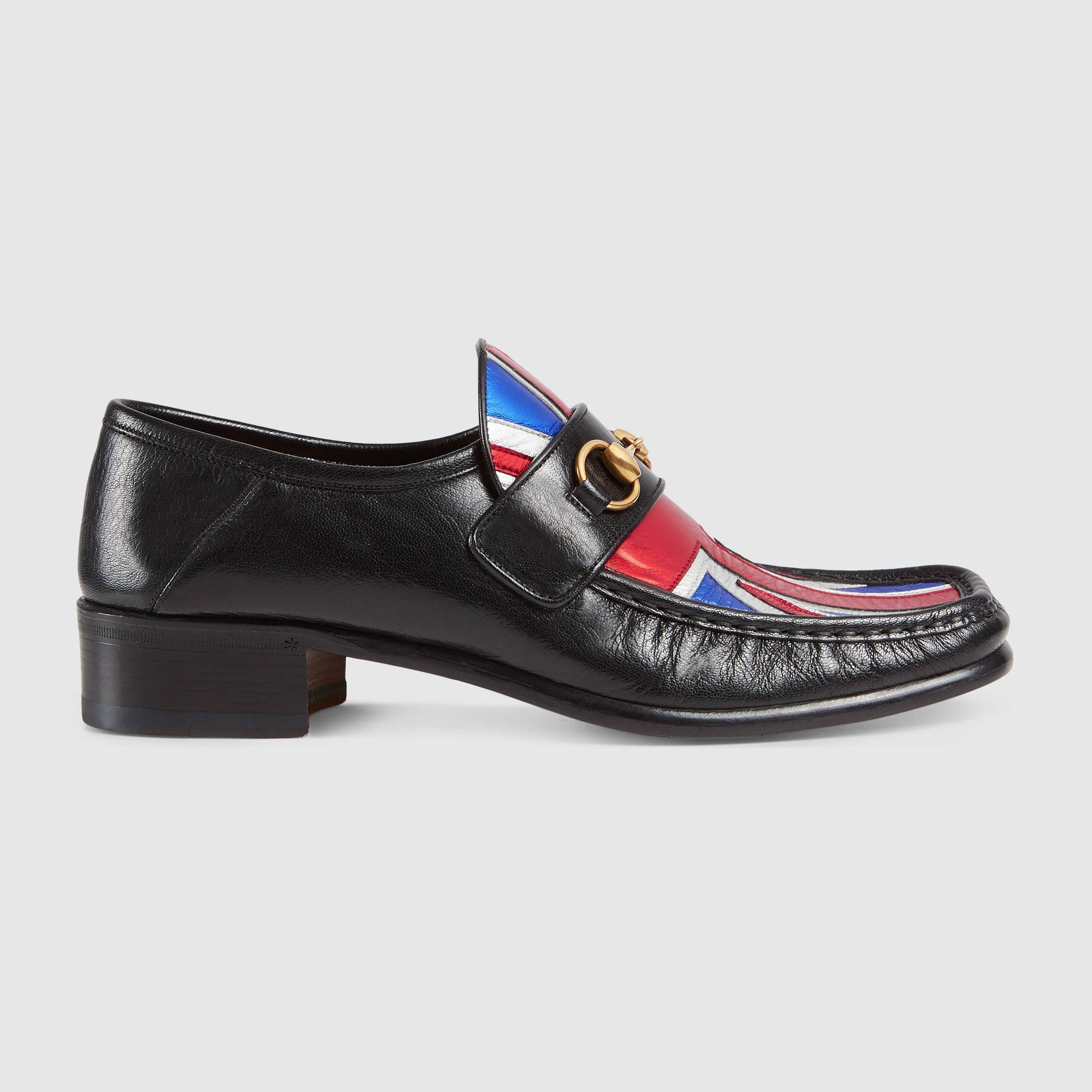 lyst gucci union jack horsebit leather loafer for men. Black Bedroom Furniture Sets. Home Design Ideas