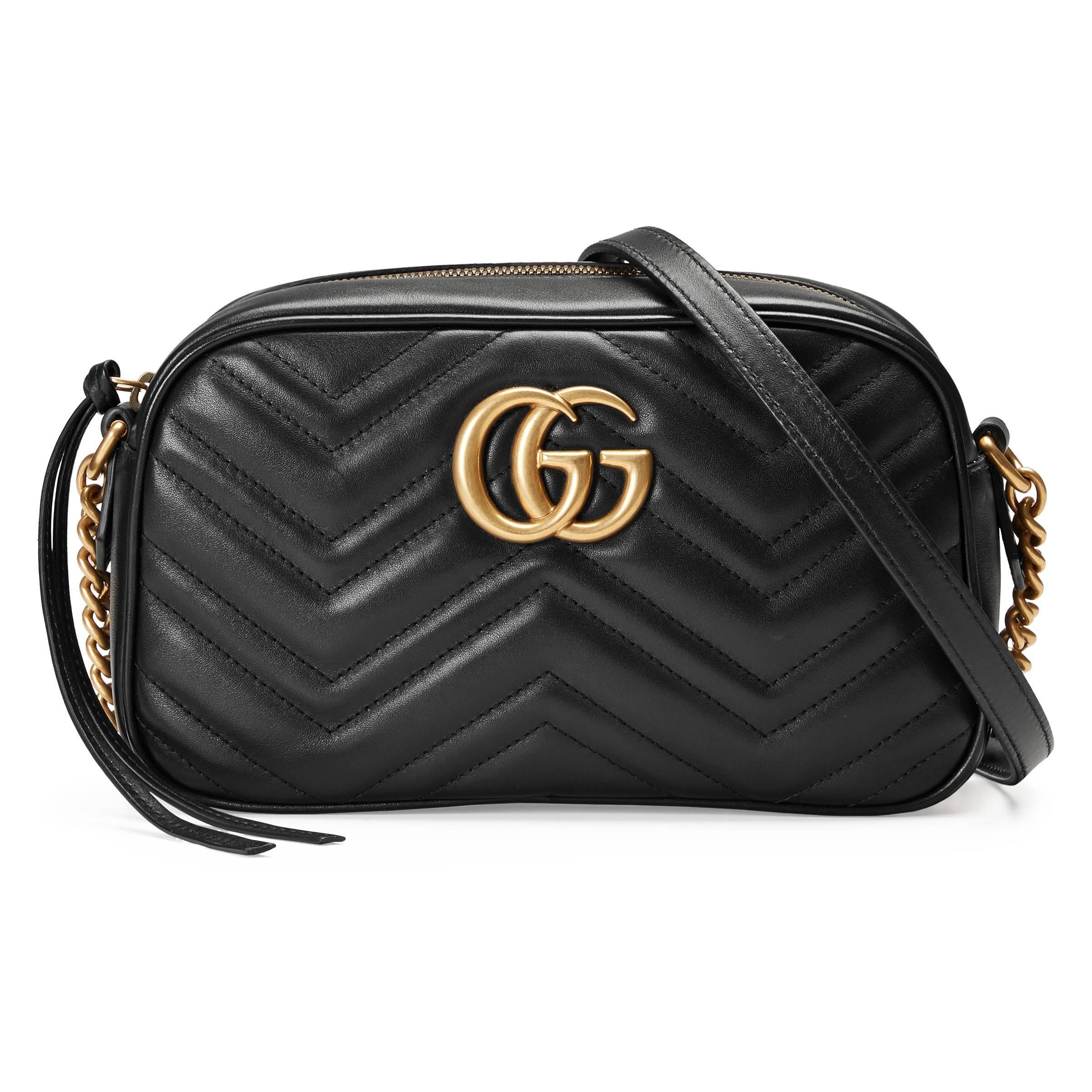 e44f152b8b3c Lyst - Sac à épaule petite taille à motif GG Marmont matelassé Gucci ...