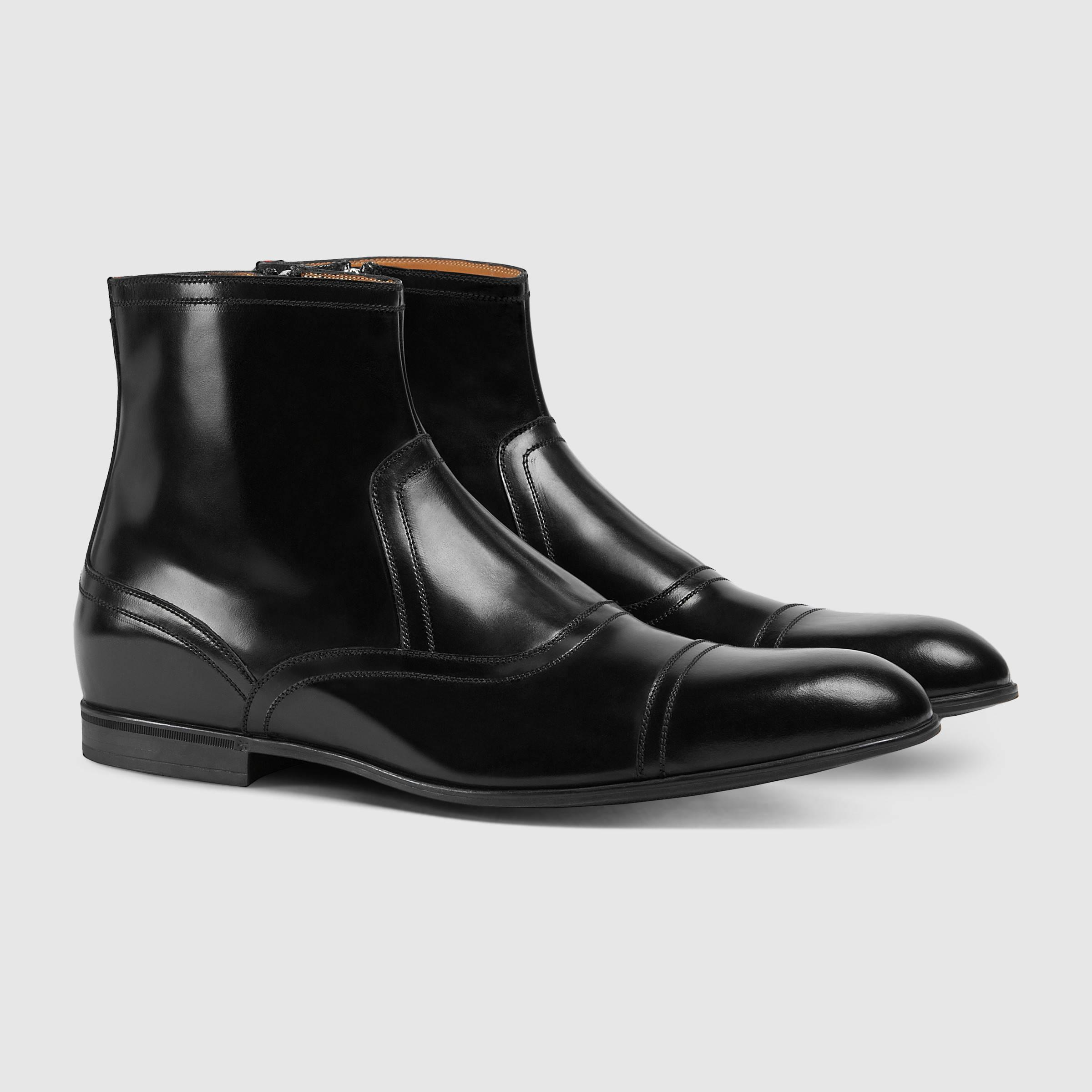 lyst gucci leather boot in black for men