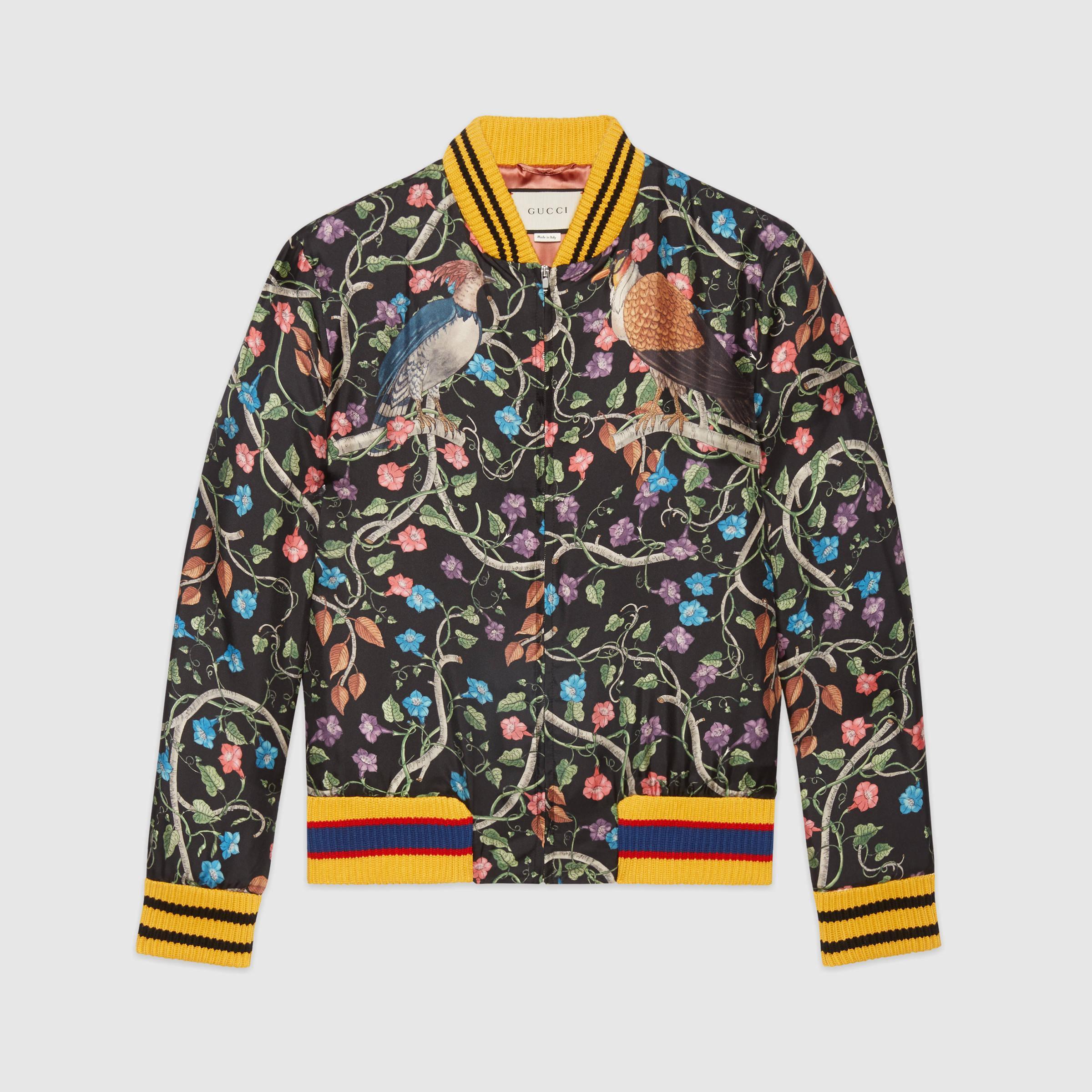 3694893b3 Gucci Birds Of Prey Silk Bomber for Men - Lyst