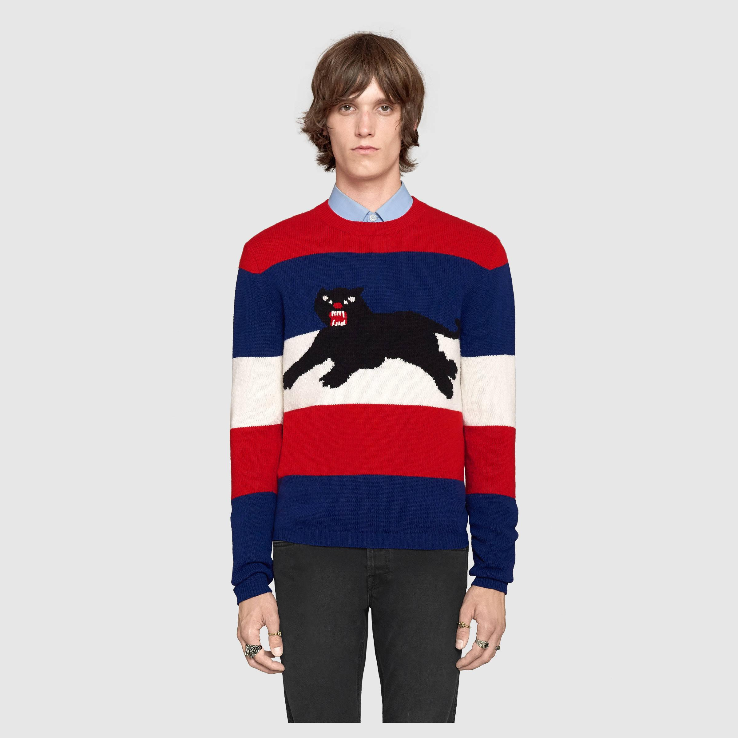 Gucci Wool Sweater With Jacquard Panther in Blue for Men | Lyst