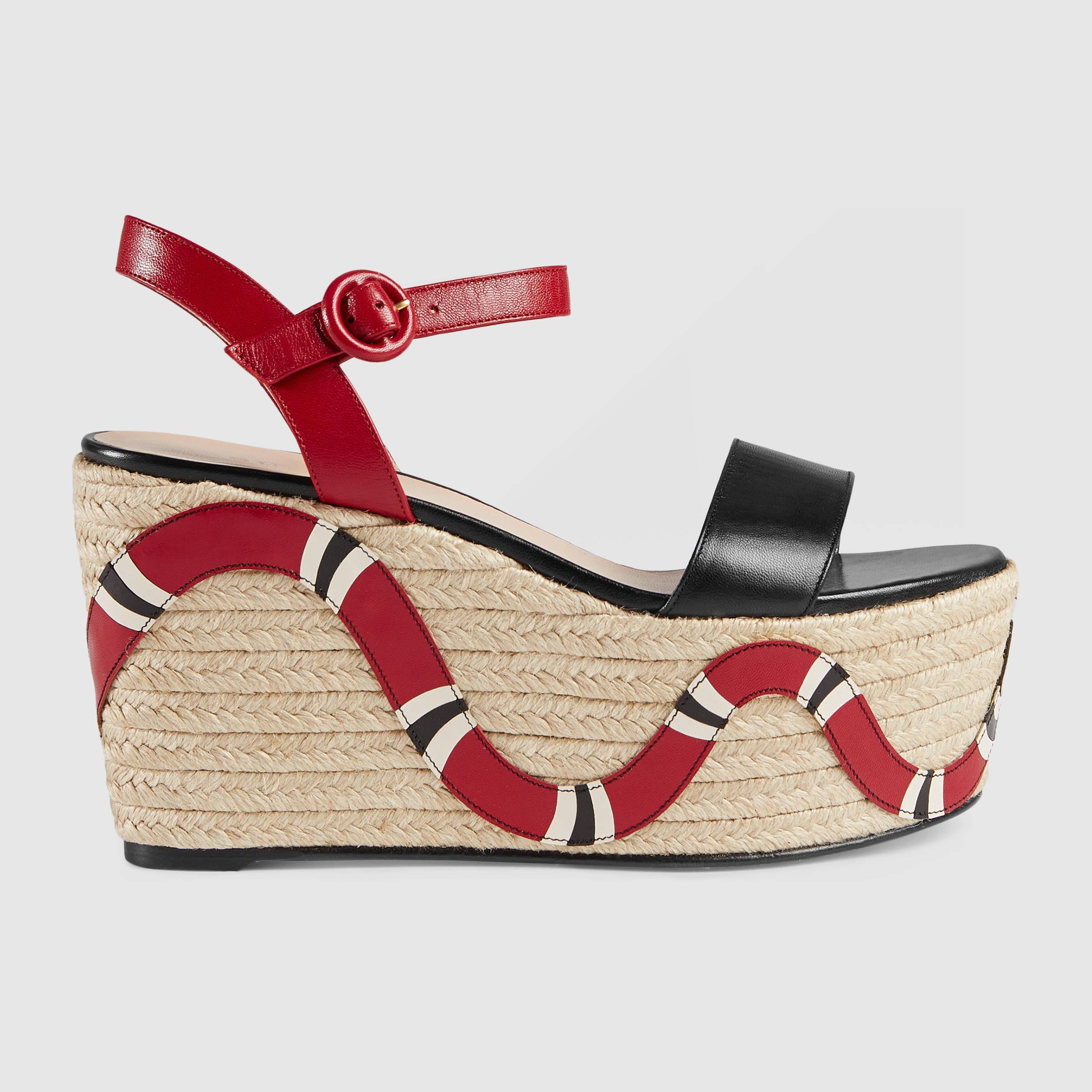 27c01514a3c1d Lyst - Gucci Barbette Espadrille Wedge Sandal in Black