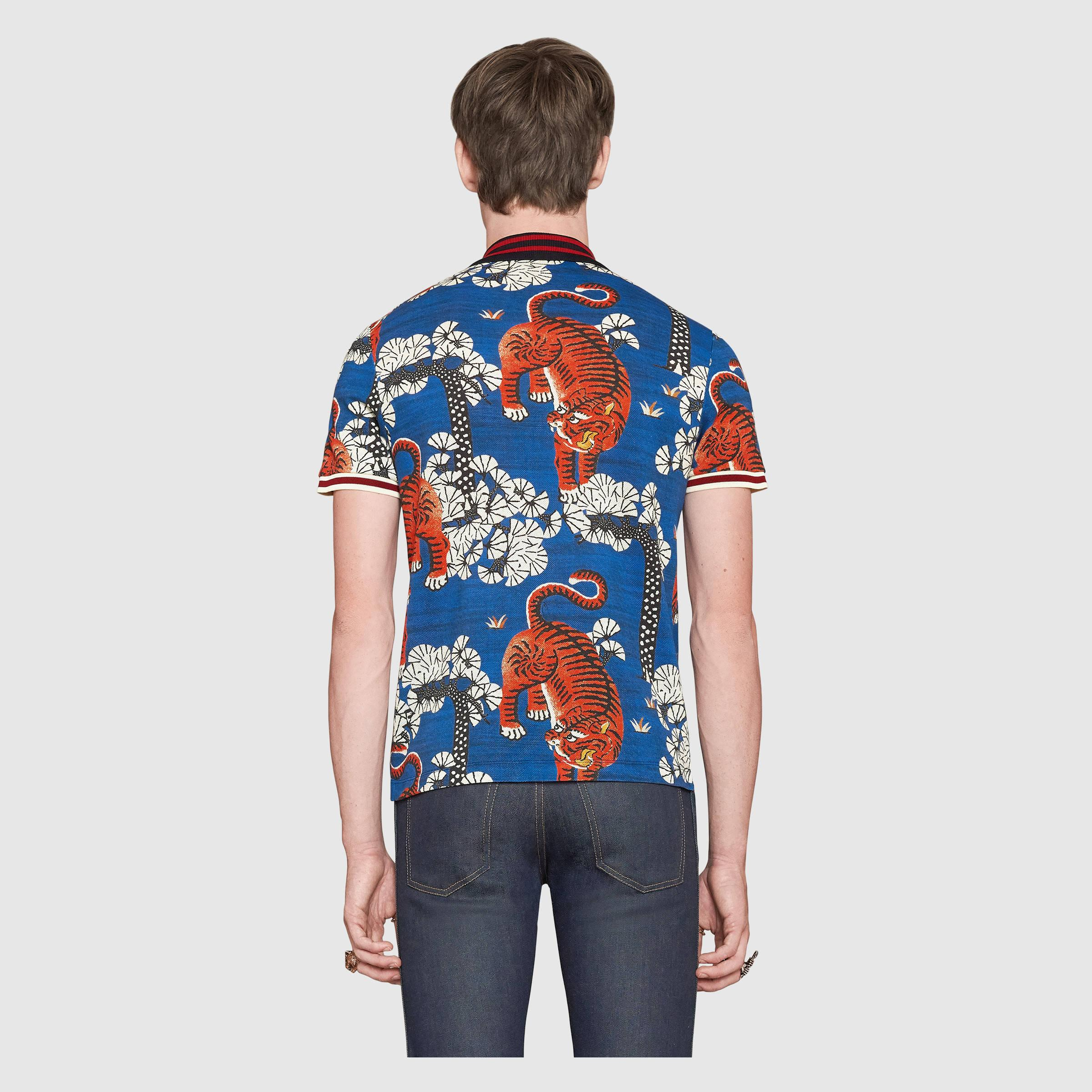 591ba704 Gucci Bengal Print Polo in Blue for Men - Lyst