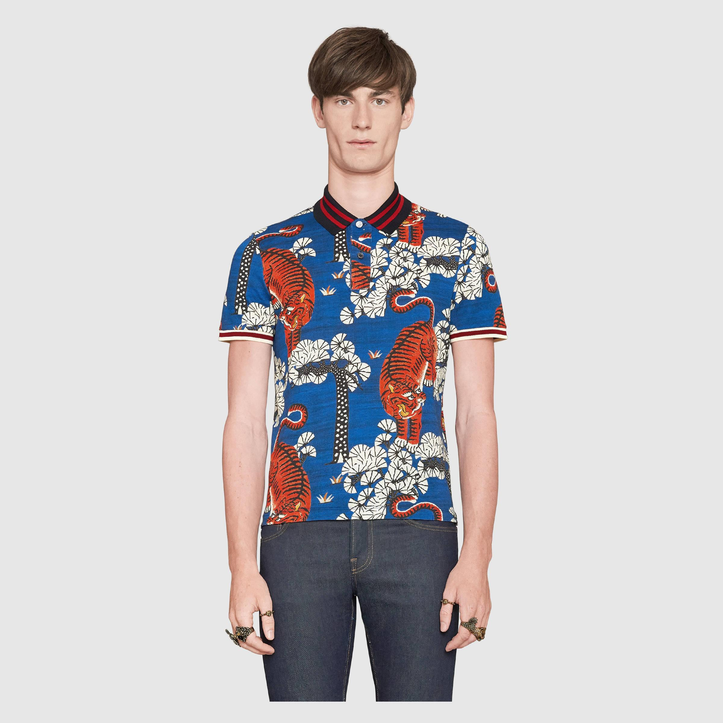 07ad56746 Gucci Bengal Print Polo in Blue for Men - Lyst