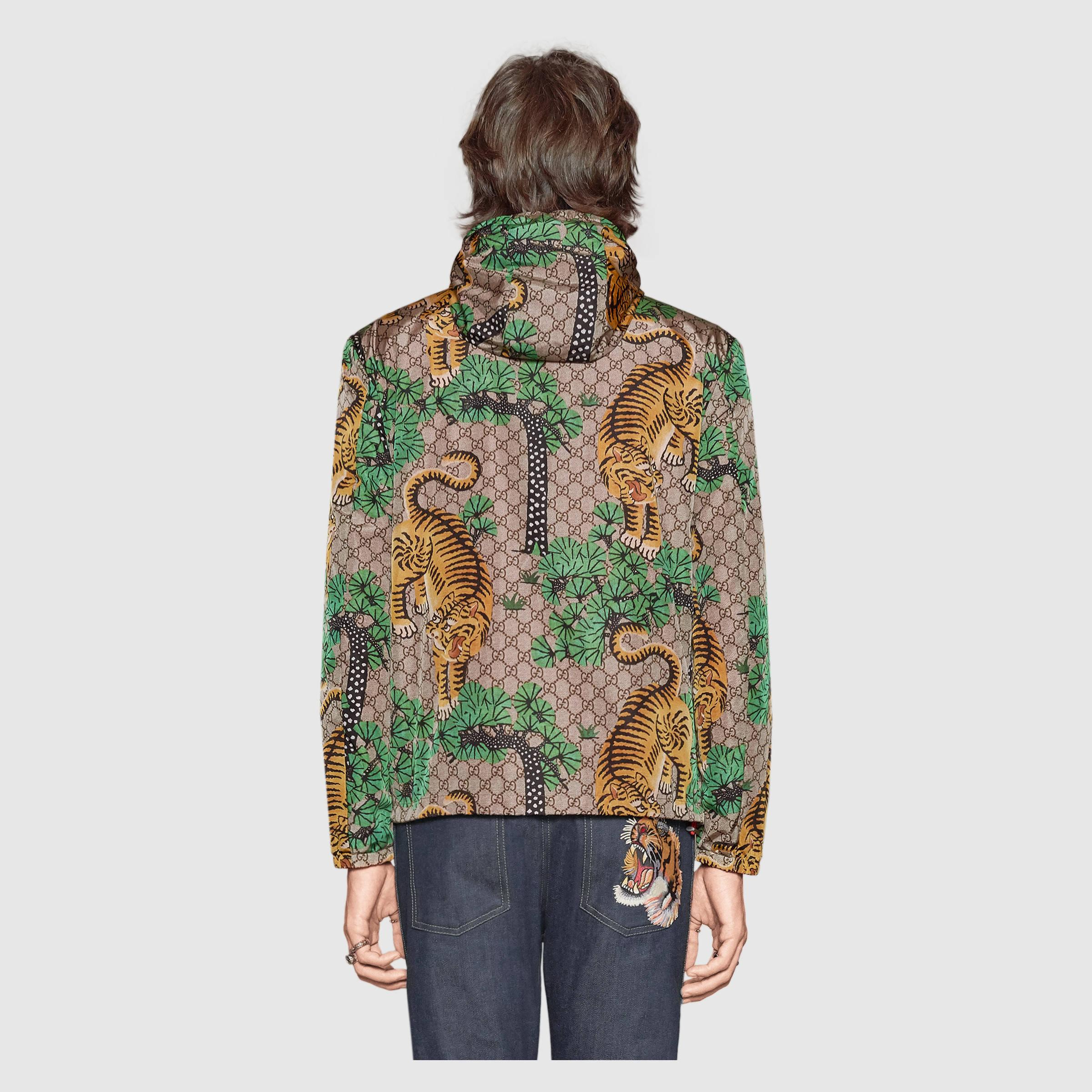 b3a45a0eb Gucci Bengal Print Nylon Jacket in Green for Men - Lyst