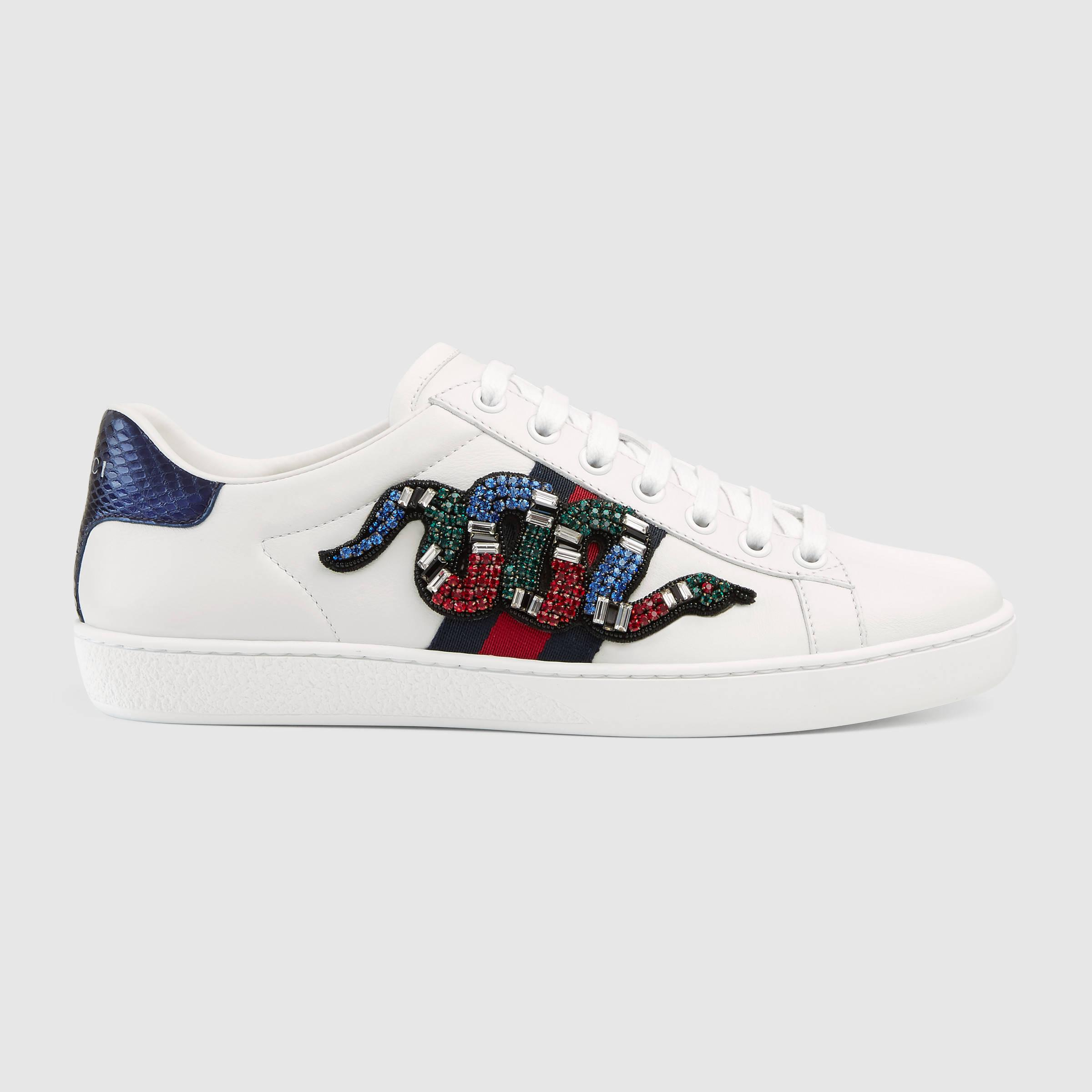 gucci ace embroidered low top sneaker for men lyst. Black Bedroom Furniture Sets. Home Design Ideas
