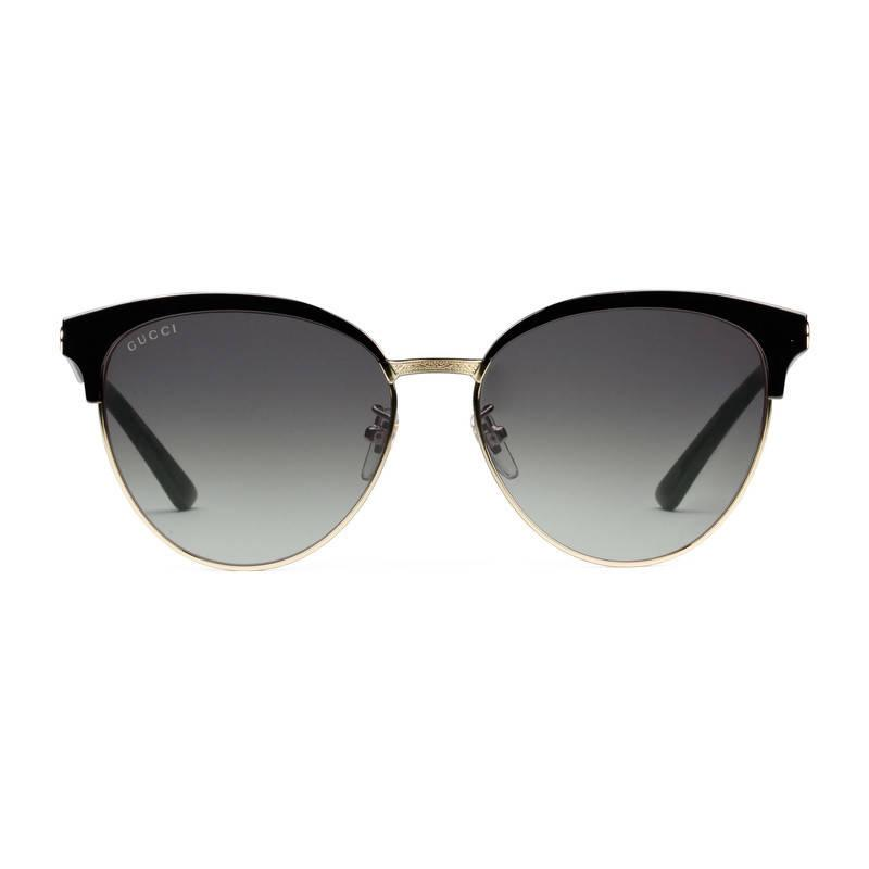 Gucci Metal Frame Glasses : Gucci Round-frame Acetate And Metal Sunglasses in Black Lyst