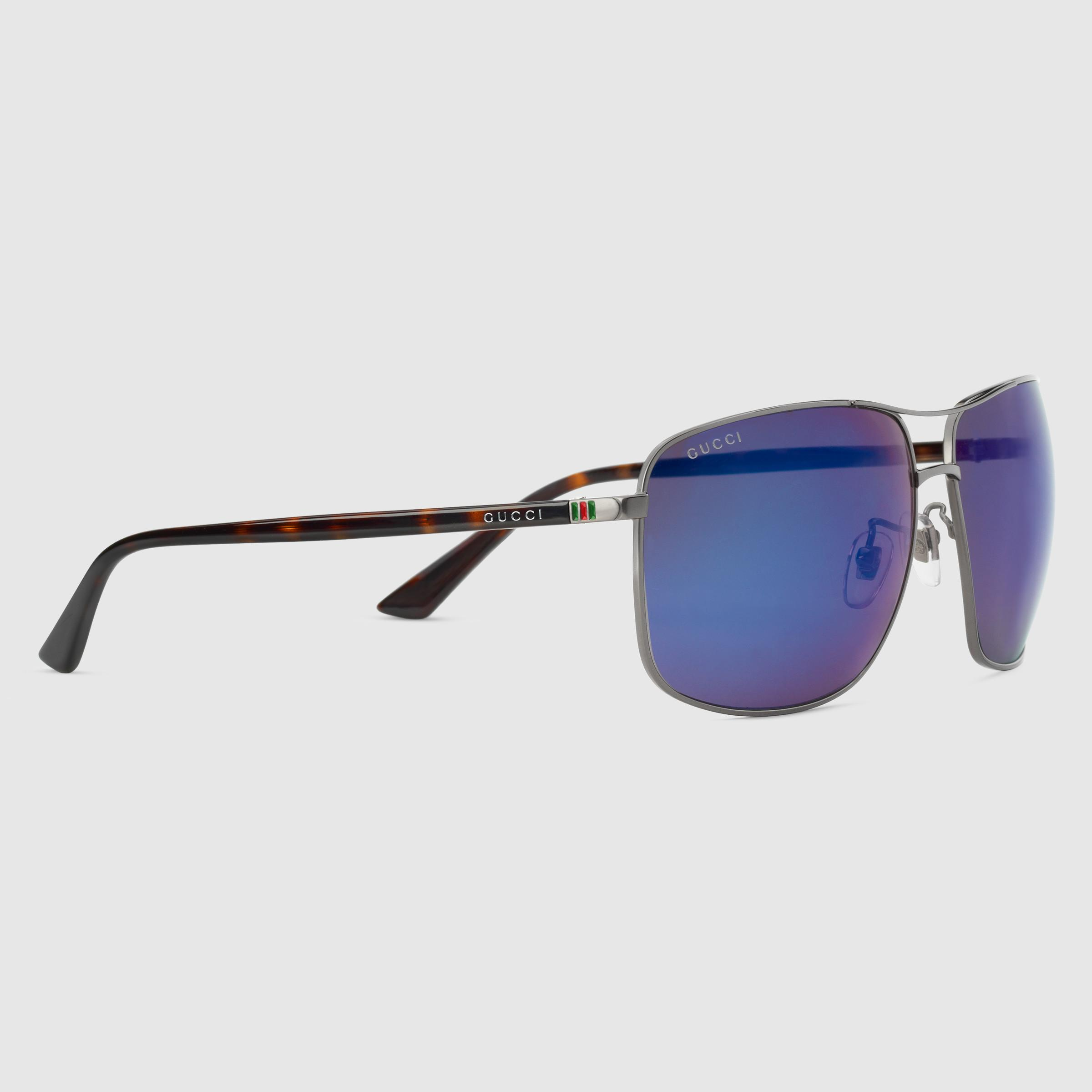 c69df37705 Lyst - Gucci Square-frame Metal Sunglasses in Blue for Men