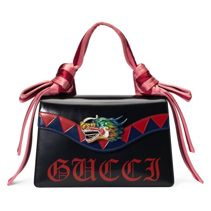 6b2ec5163df Gucci Naga Dragon Leather Shoulder Bag in Red - Lyst