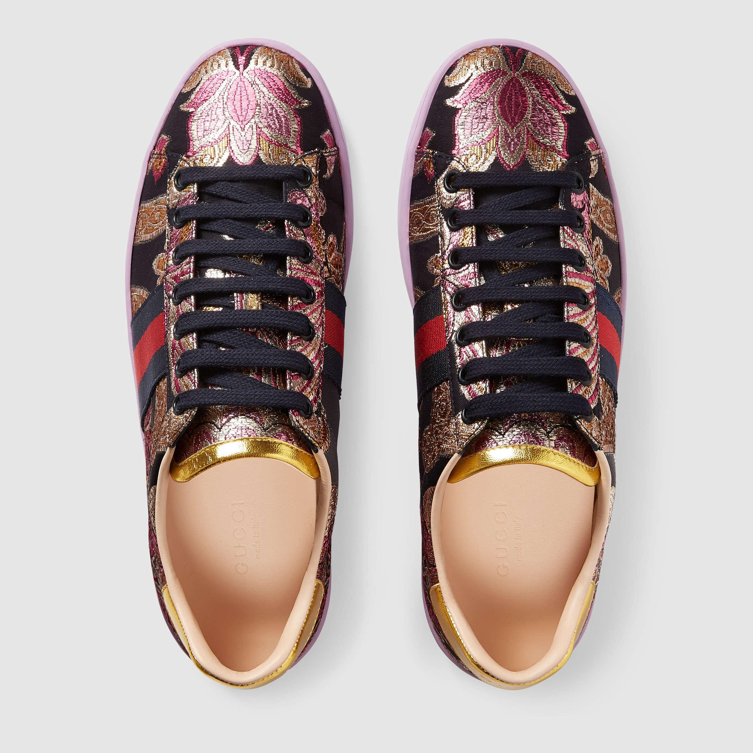 e2a3fbc78bd Lyst - Gucci Ace Brocade Low-top Sneaker