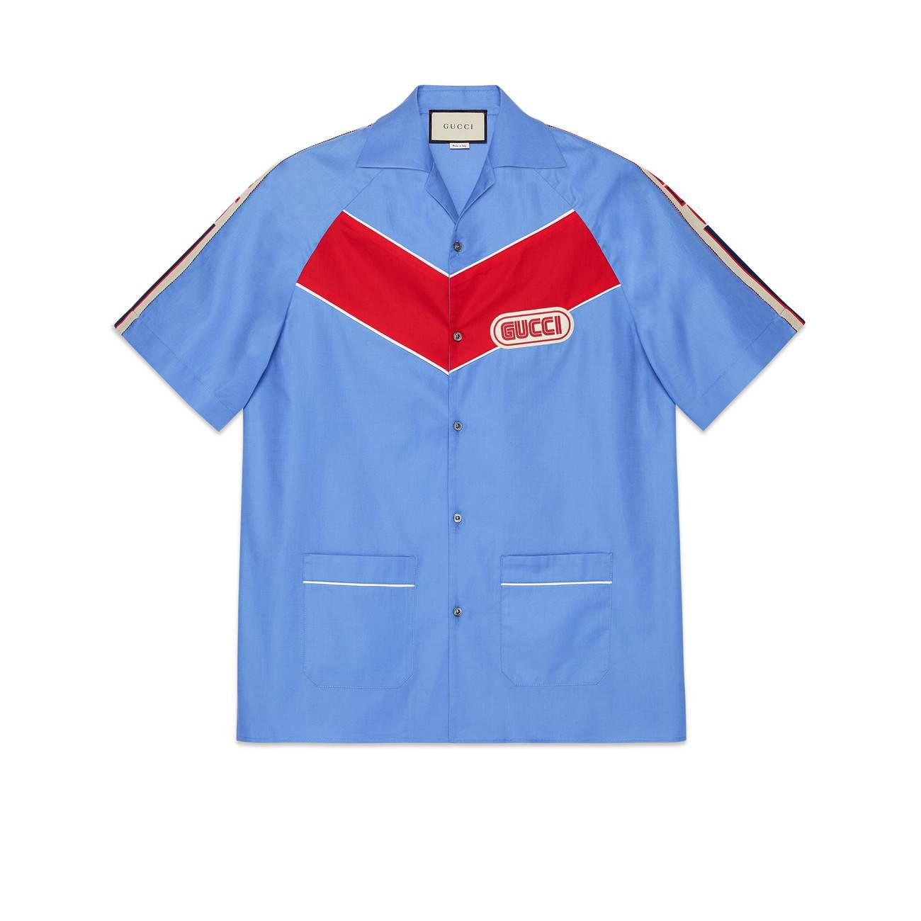 a2dbc4d7f97 Gucci - Blue Bowling Shirt With Patch for Men - Lyst. View fullscreen